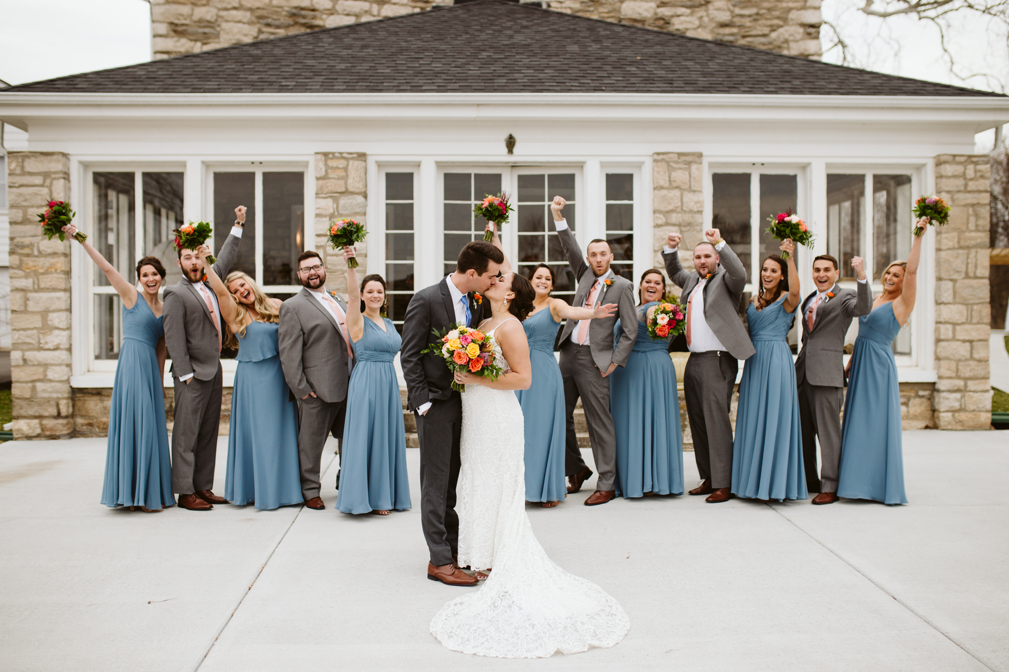 Bridal party portraits at stone house of st charles