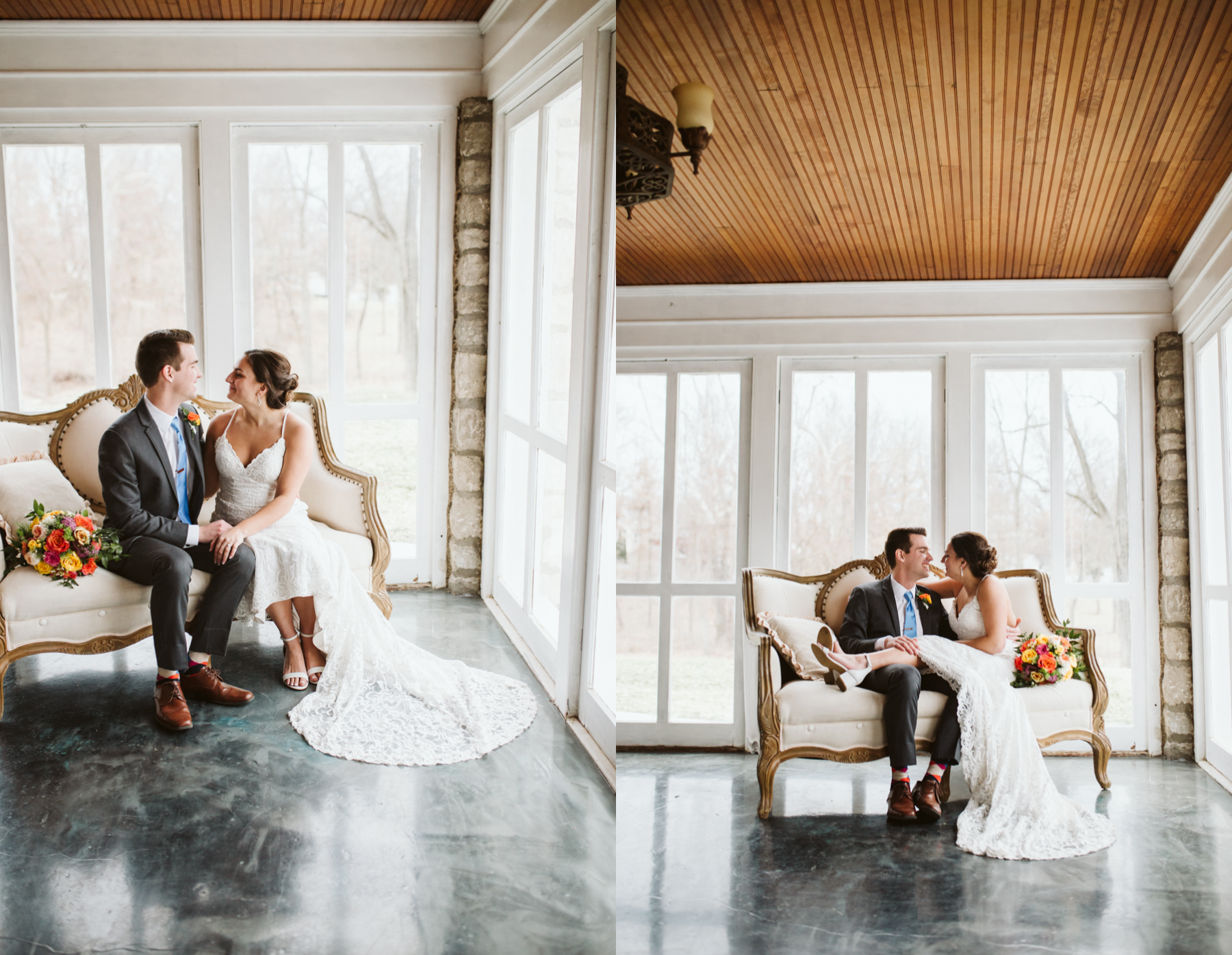 Bride and groom sit in a sunroom at the stone house of st charles wedding venue in missouri