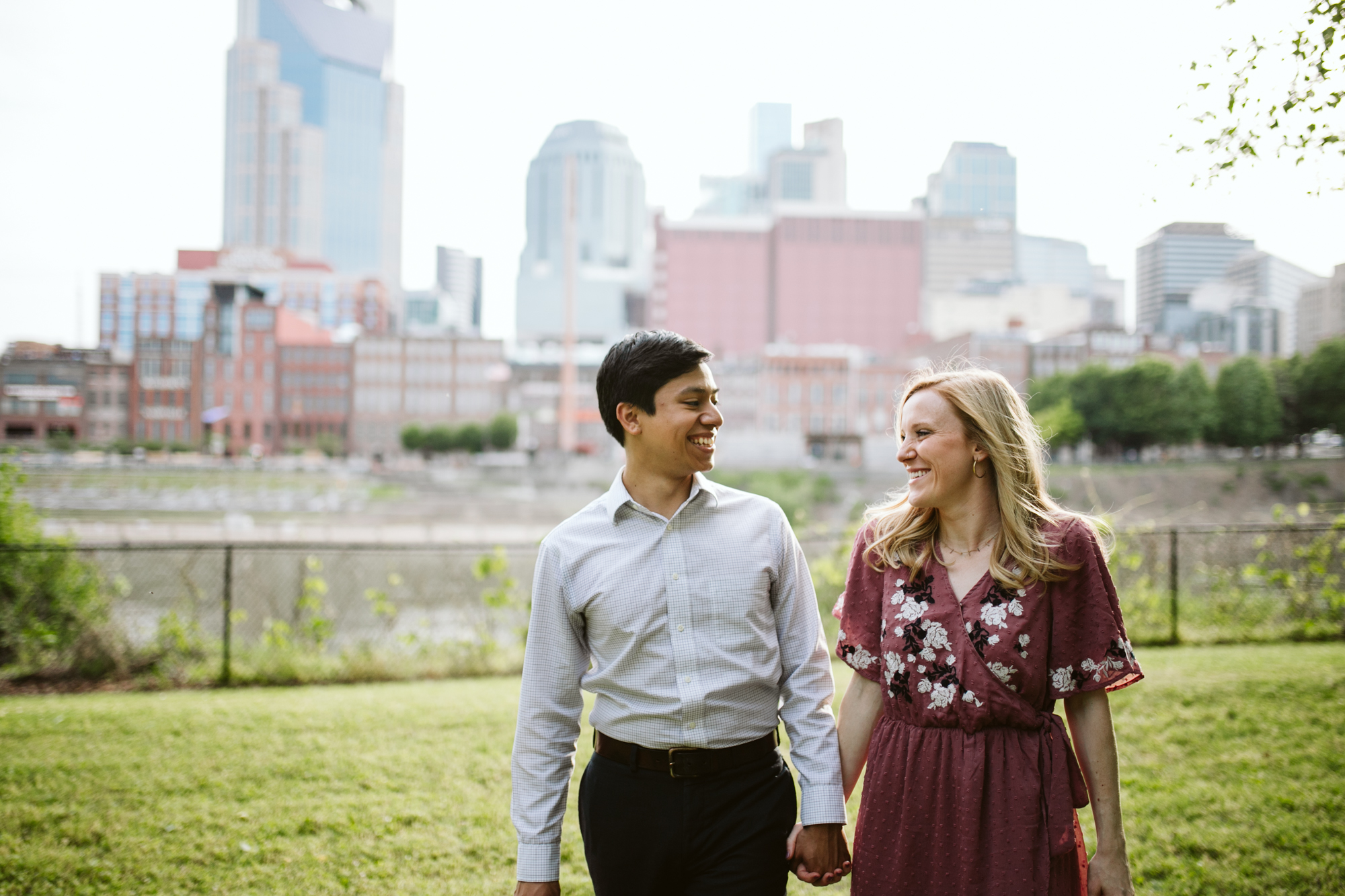 Summer Engagement Session on the Cumberland River in downtown Nashville, Tennessee