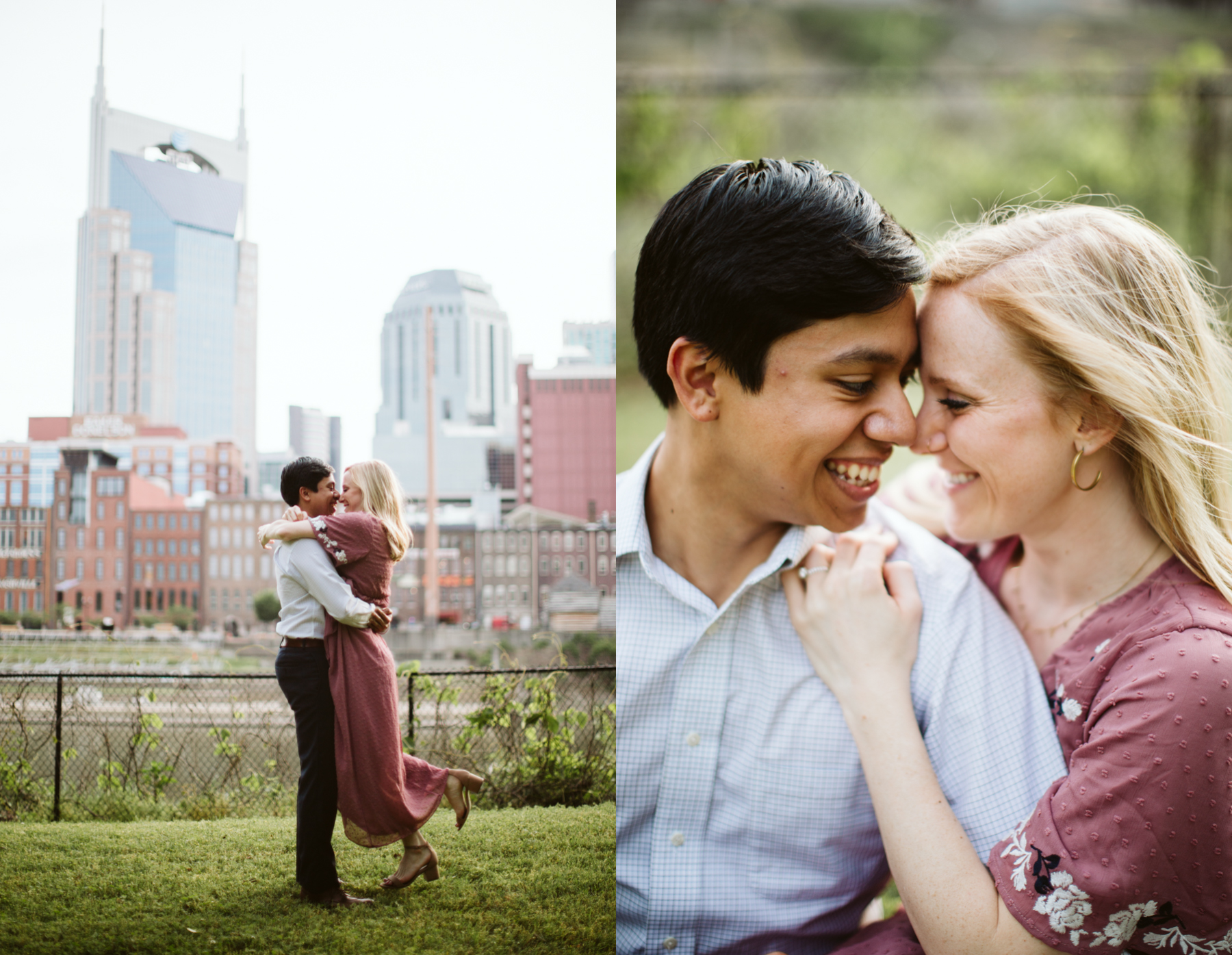 Summer Engagement Session on the Cumberland River in downtown Nashville, Tennessee, Cumberland Park.