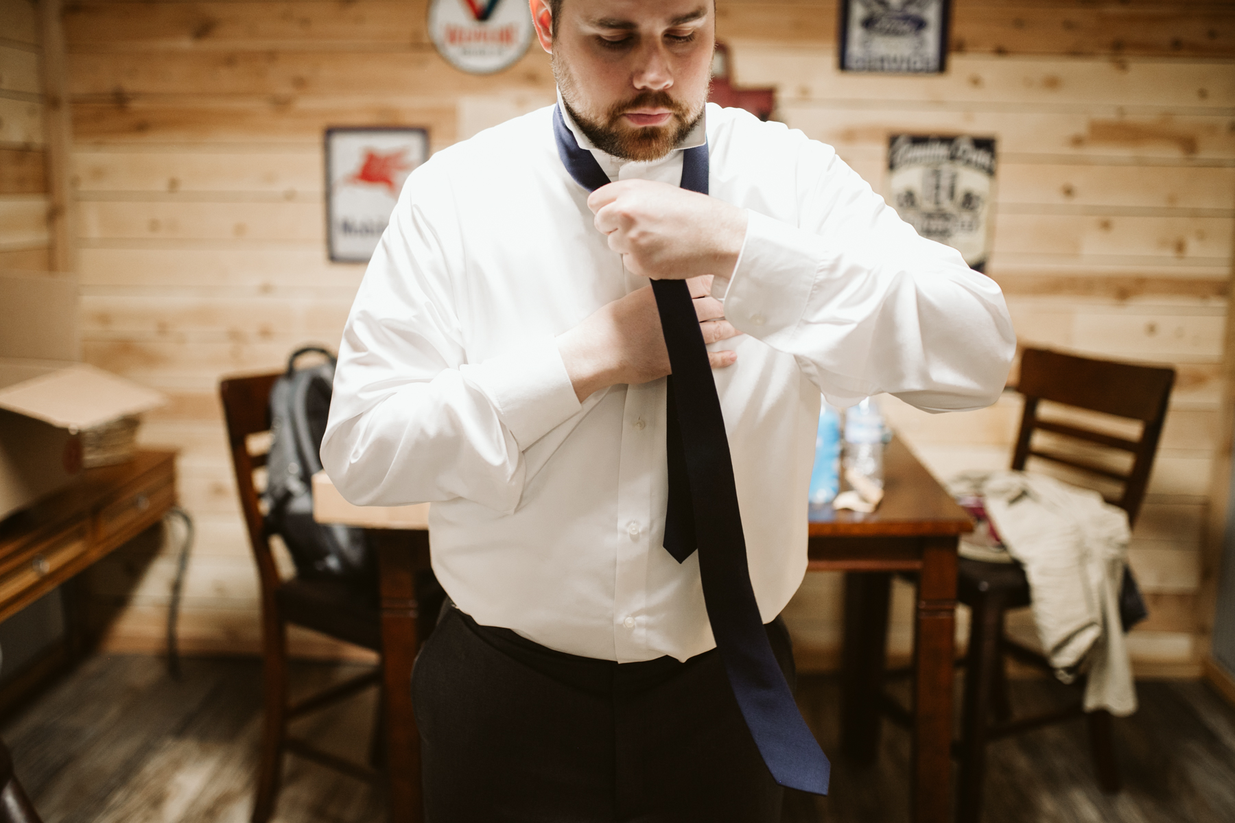 Groom getting ready before a A Rustic Wedding at Barn in the Bend in Nashville, Tennessee