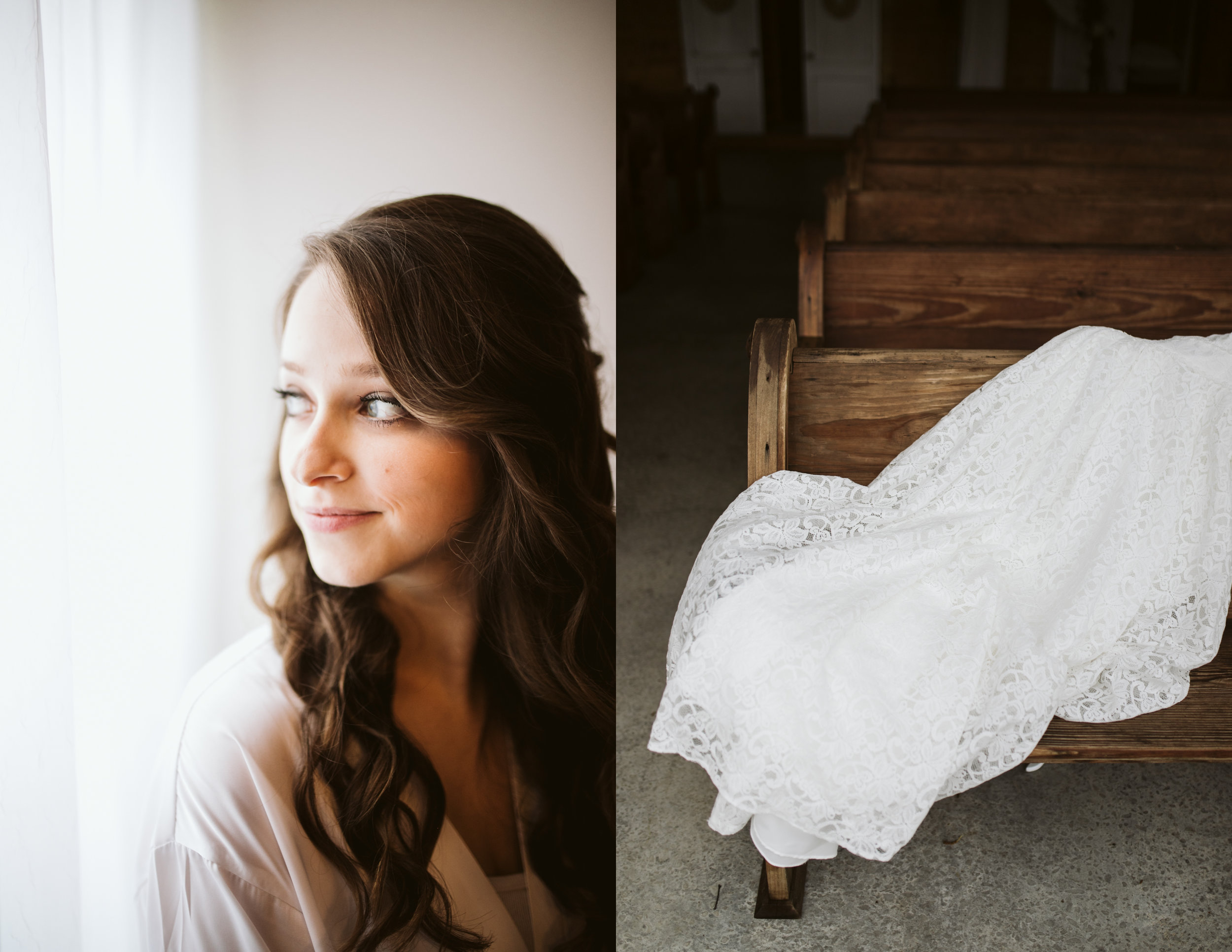 Bridal portrait and dress at a A Rustic Wedding at Barn in the Bend in Nashville, Tennessee