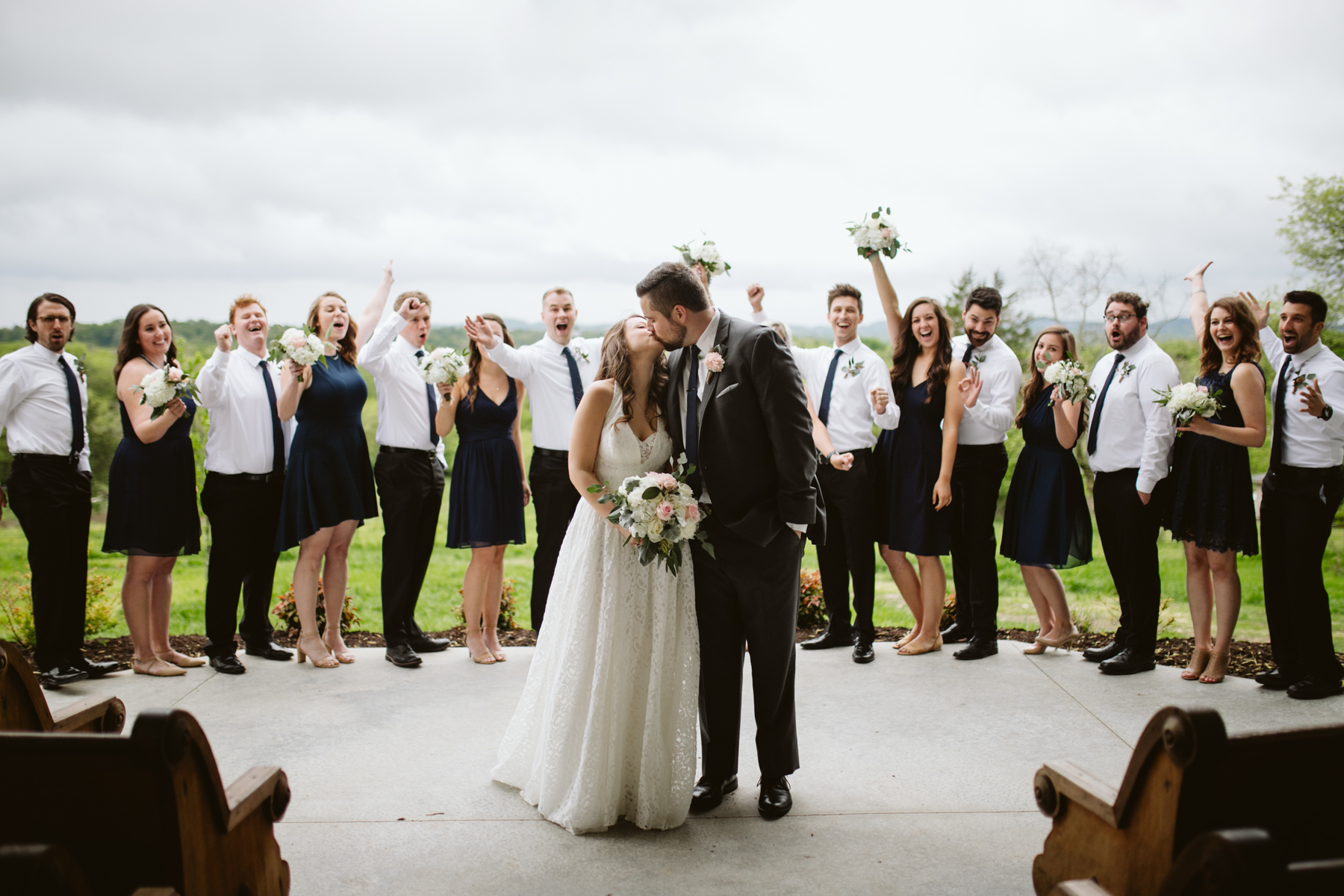 Cloudy bridal party photos at a A Rustic Wedding at Barn in the Bend in Nashville, Tennessee