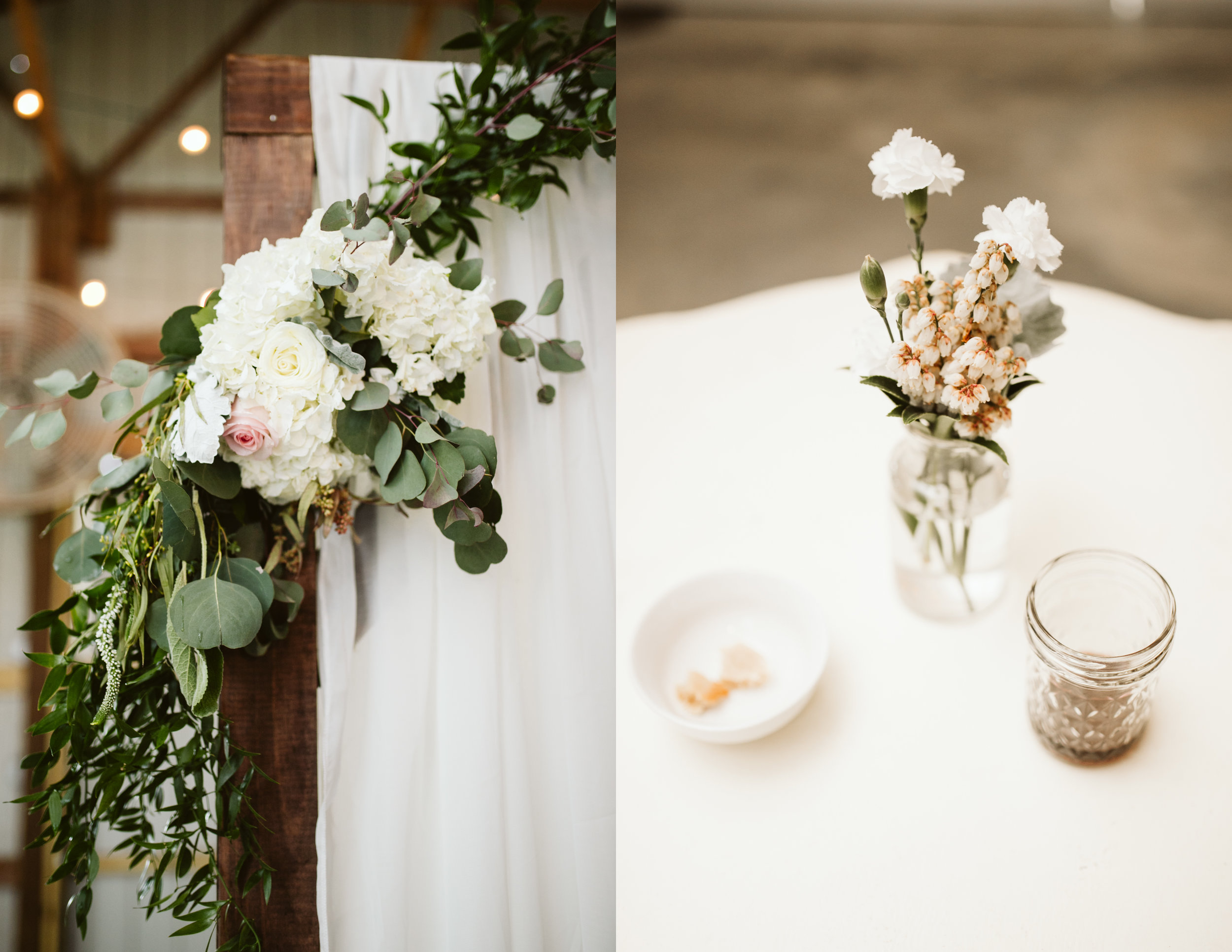 Ceremony Decorations for A Rustic Wedding at Barn in the Bend in Nashville, Tennessee