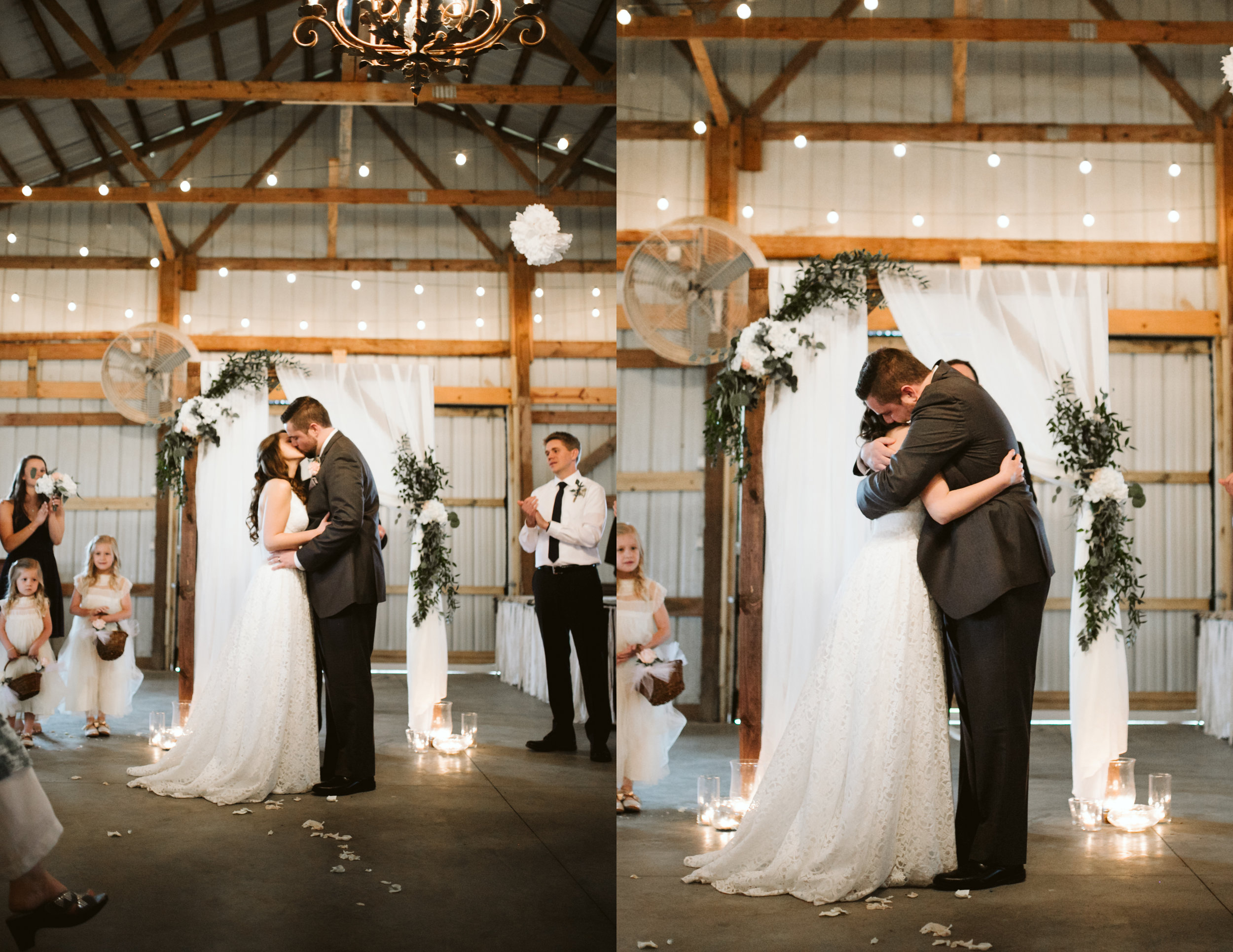 The first kiss at A Rustic Wedding at Barn in the Bend in Nashville, Tennessee