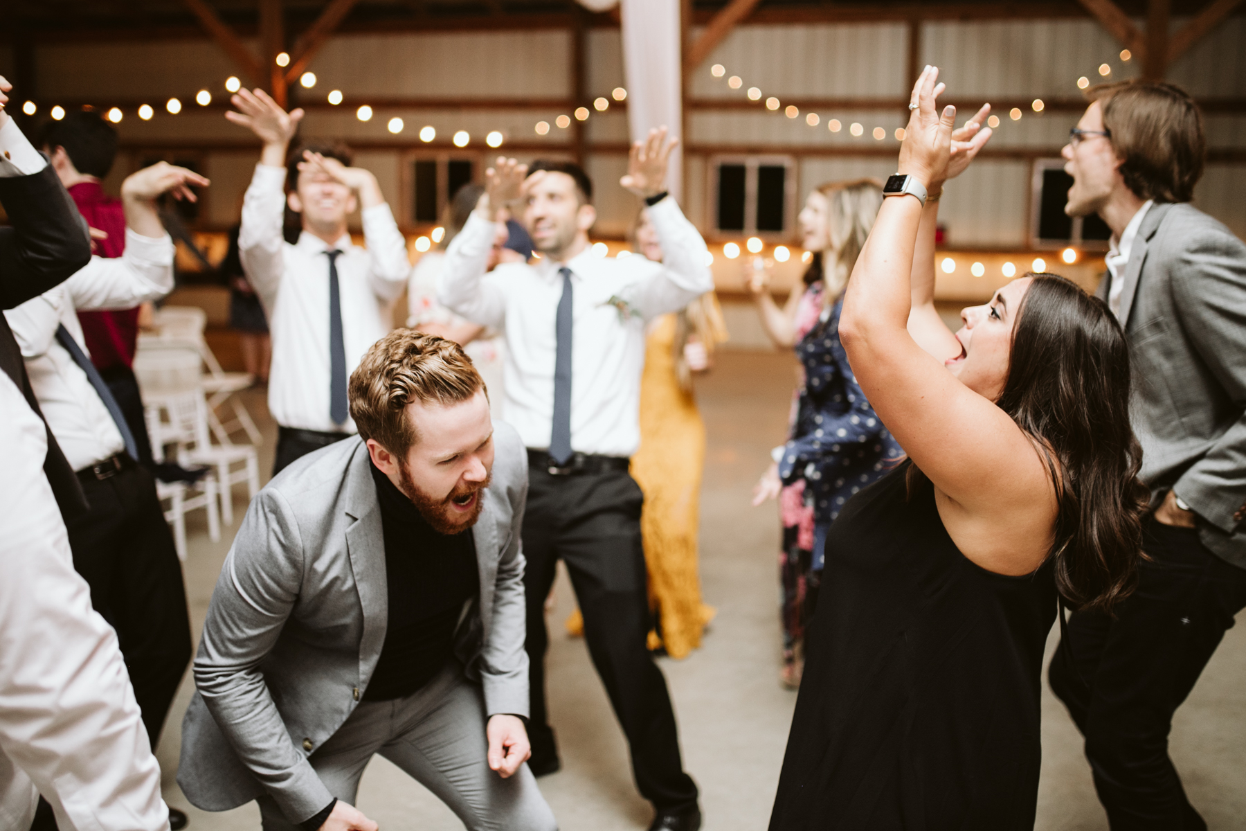 Dance floor during the reception of A Rustic Wedding at Barn in the Bend in Nashville, Tennessee