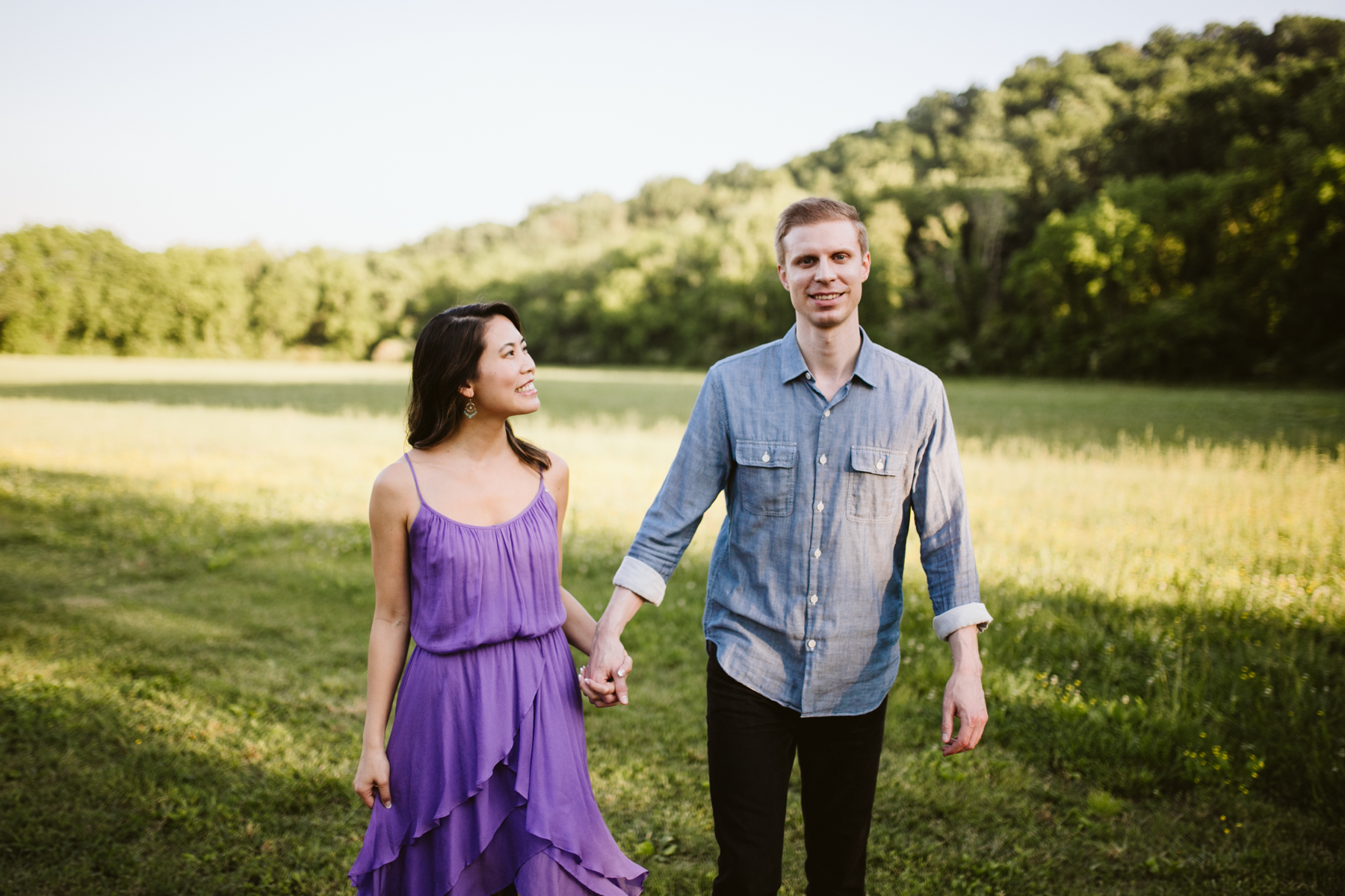 A sunny evening engagement session at green door gourmet in Nashville, Tennessee