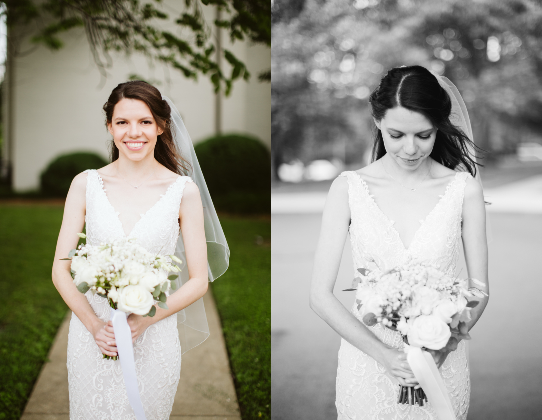 Bridal portraits at a rainy summer wedding at brentwood hills church in Nashville, tennessee