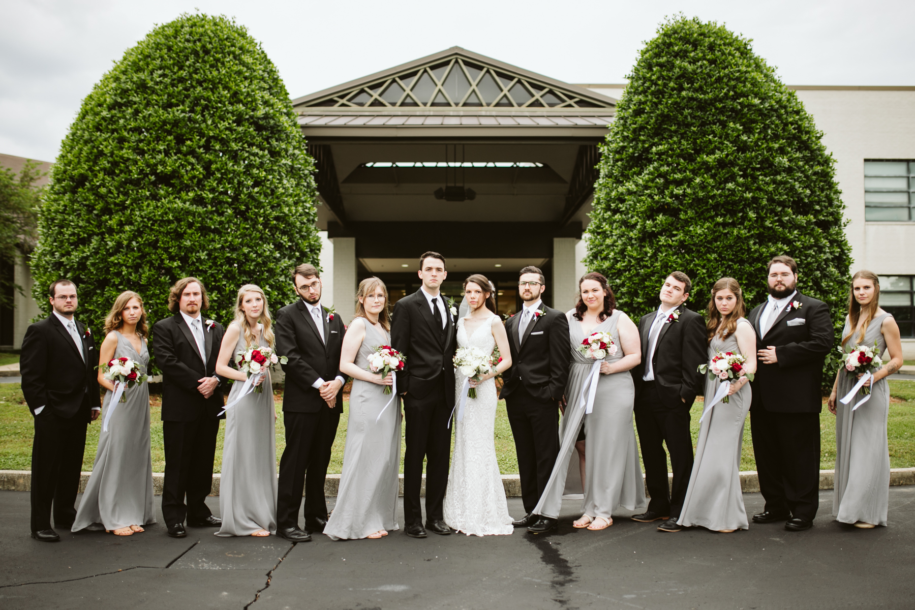 bridal party at a rainy summer wedding at brentwood hills church in Nashville, tennessee
