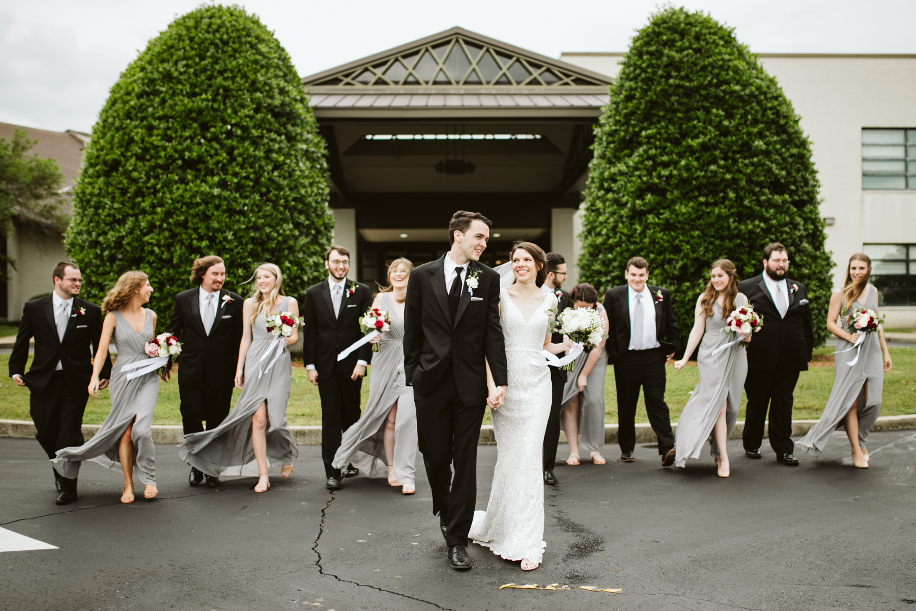 bridal party portraits after a rainy summer wedding at brentwood hills church in Nashville, tennessee