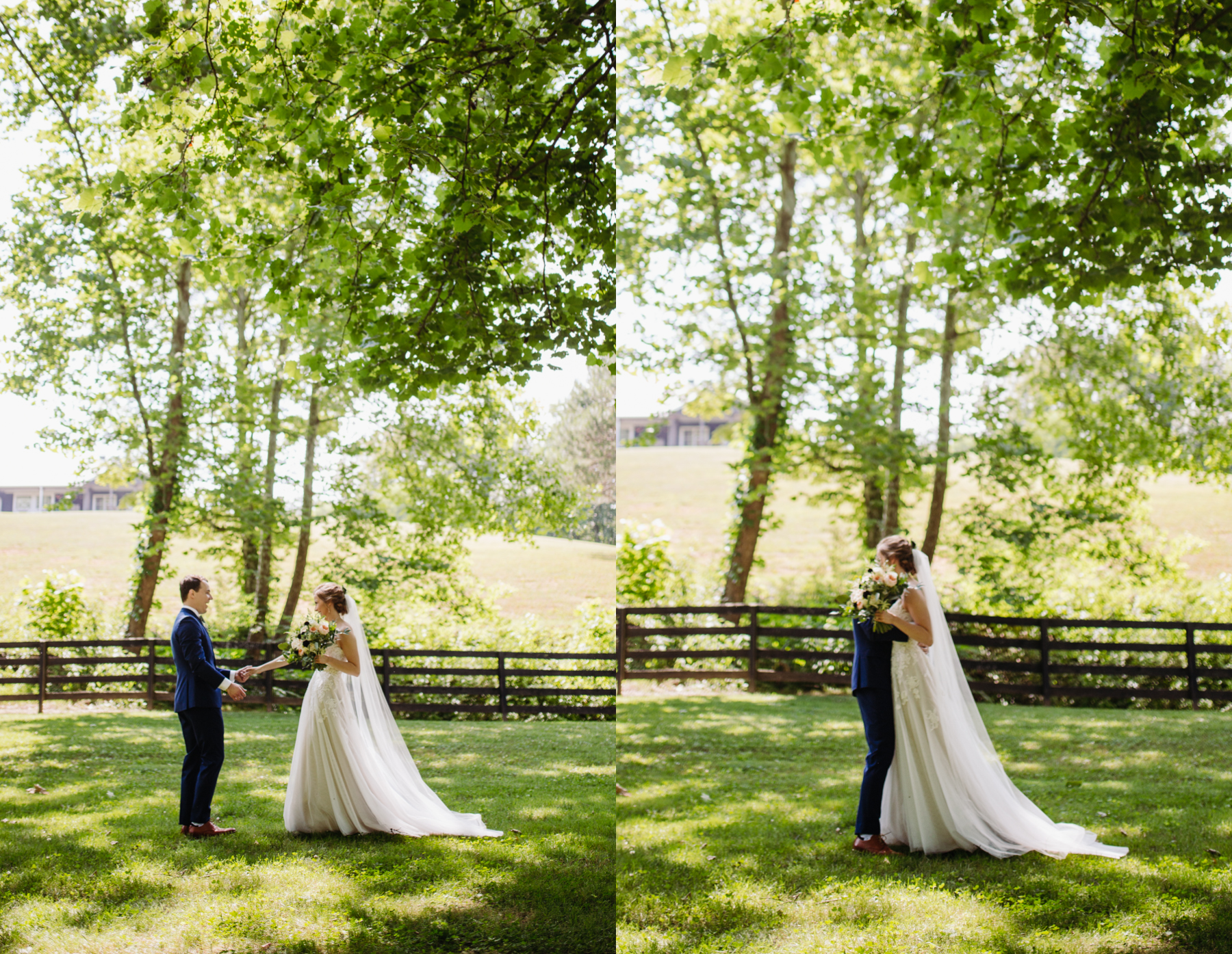 First look portraits at a stables at strawberry creek wedding in Knoxville, tennessee