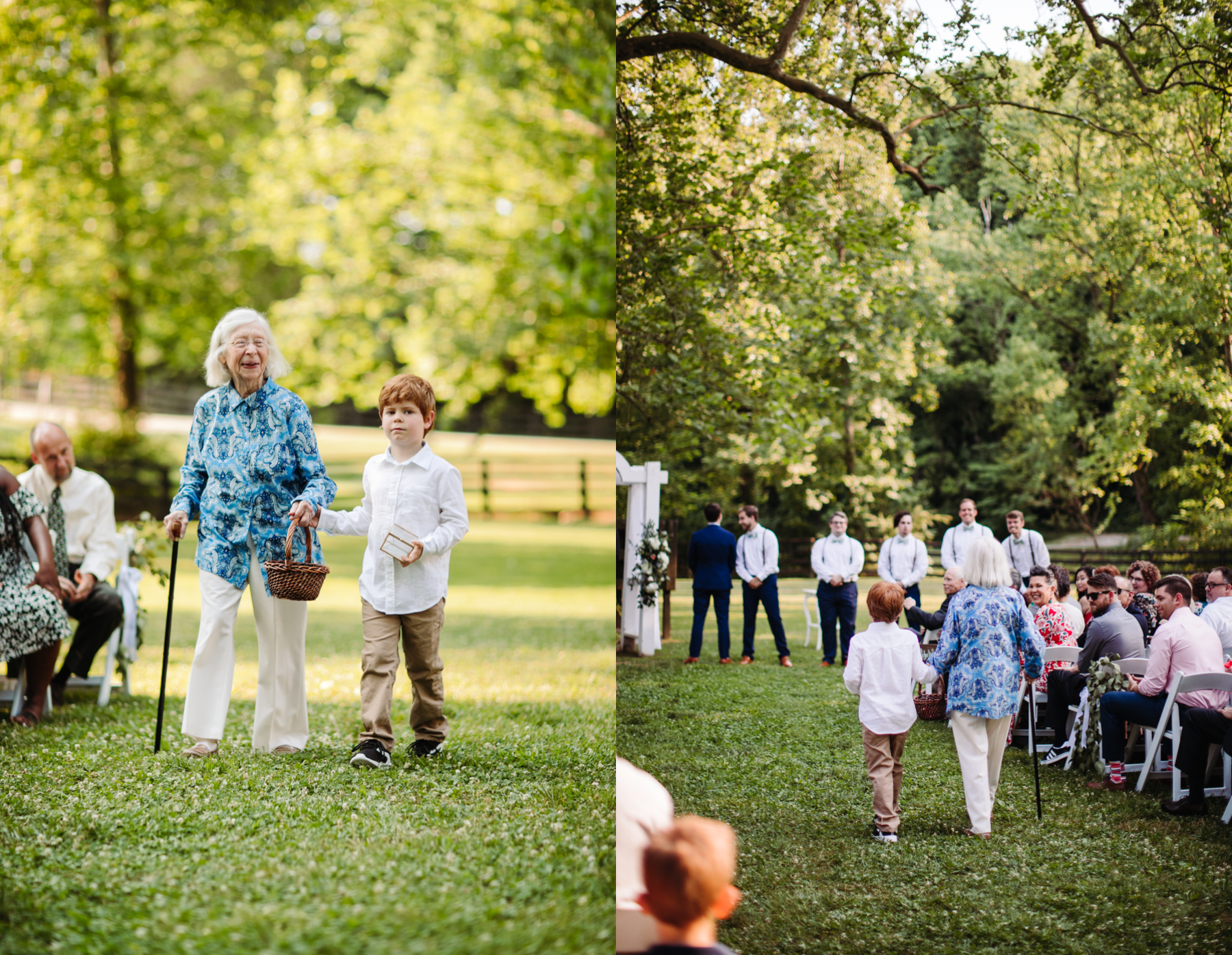 Grandmother as the flower girl with the ring bearer at a a stables at strawberry creek wedding in knoxville, tennessee