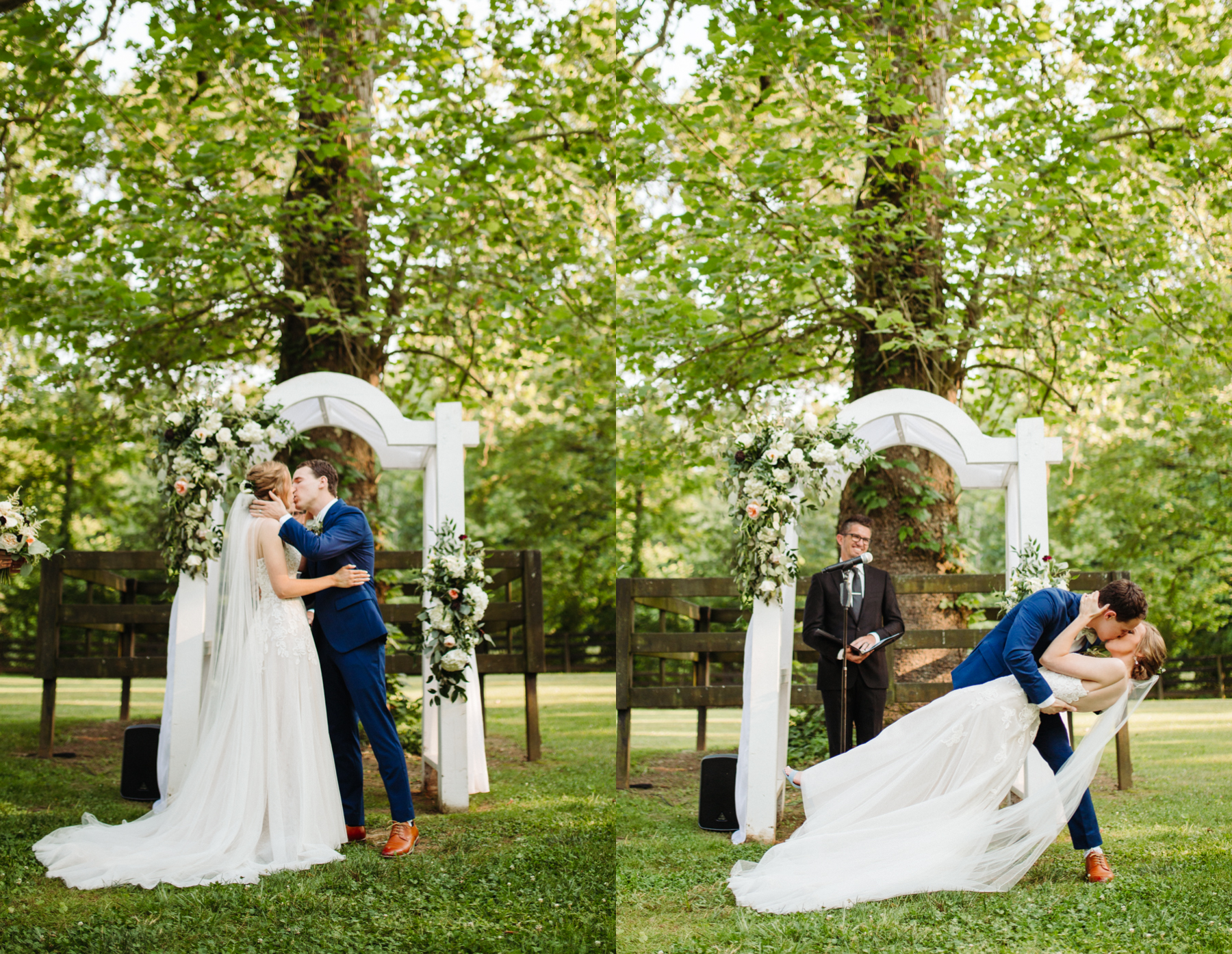 The first kiss as husband and wife at a stables at strawberry creek wedding in knoxville, tennessee