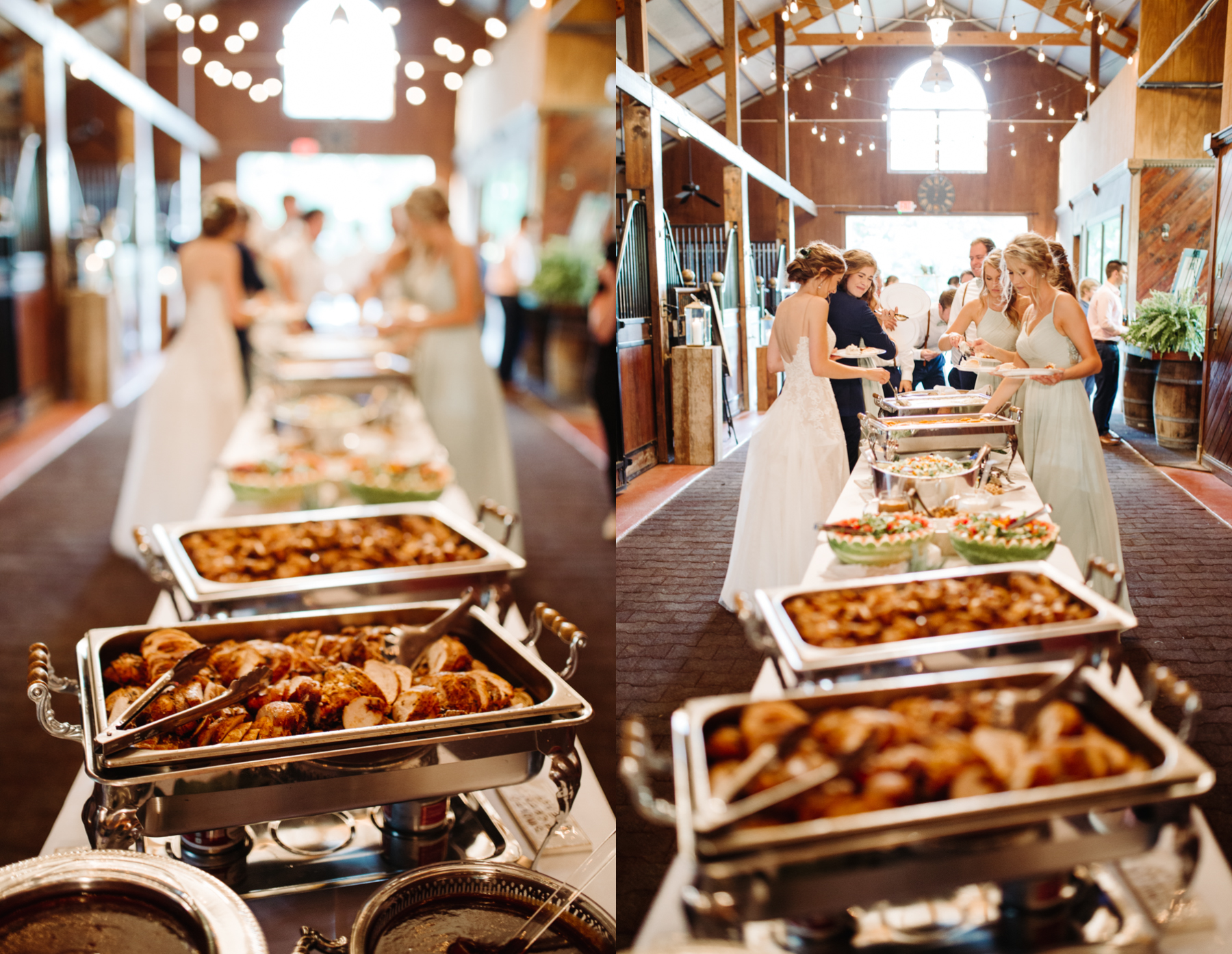 Catering spread at a stables at strawberry creek wedding in knoxville, tennessee