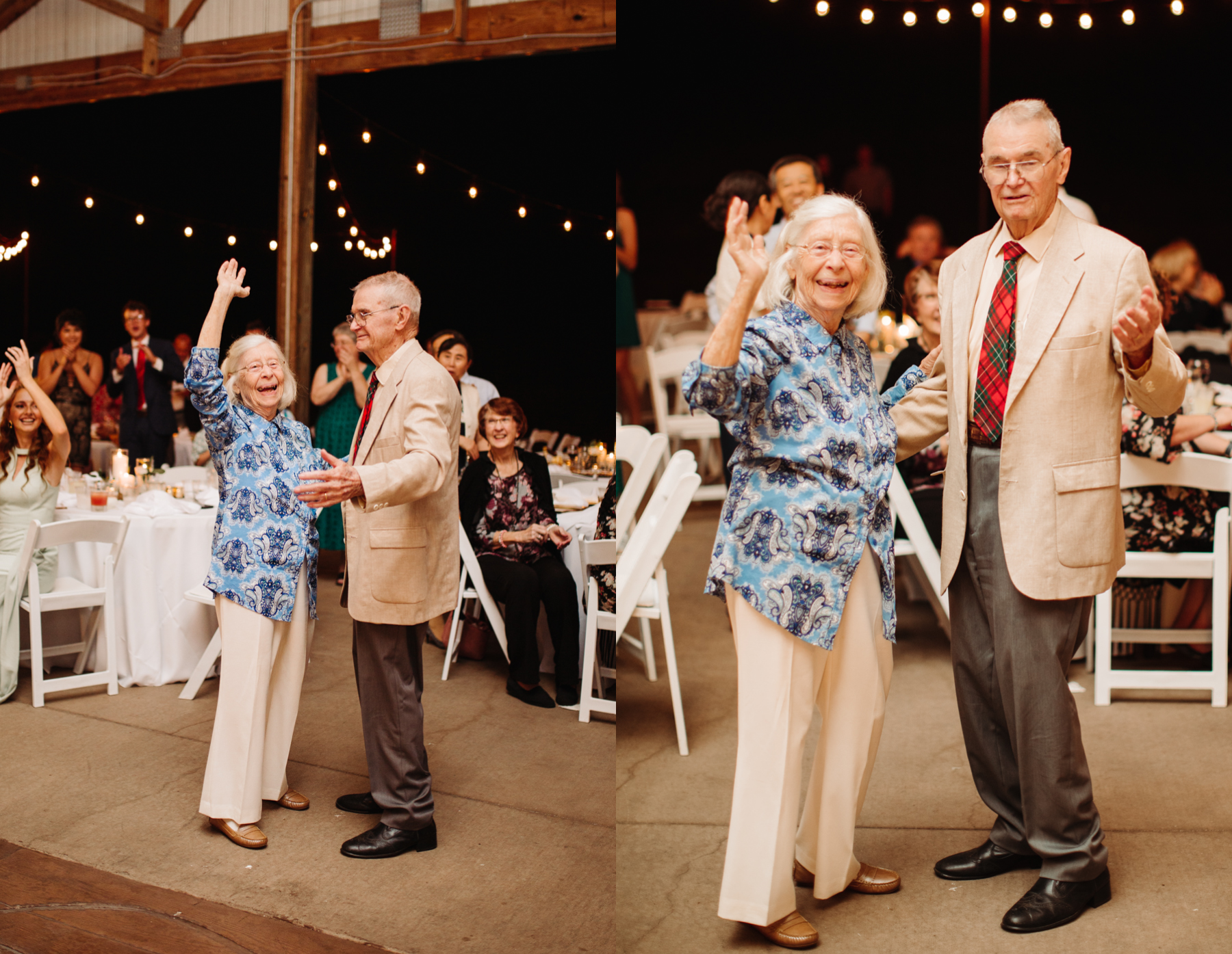 Bride's grandparents remain on the dance floor as the longest married couple at a stables at strawberry creek wedding in knoxville, tennessee