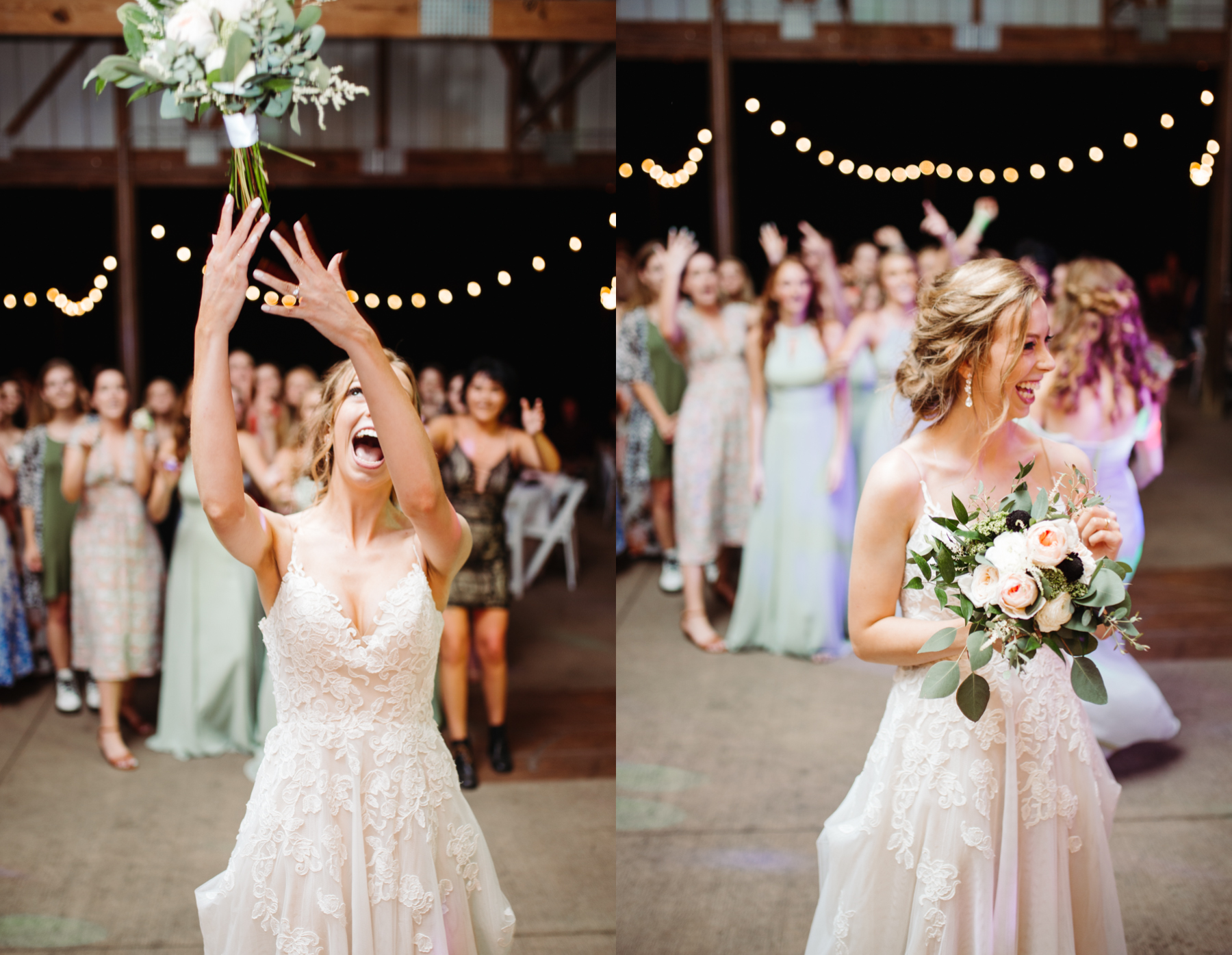 Bouquet toss at a stables at strawberry creek wedding in knoxville, tennessee