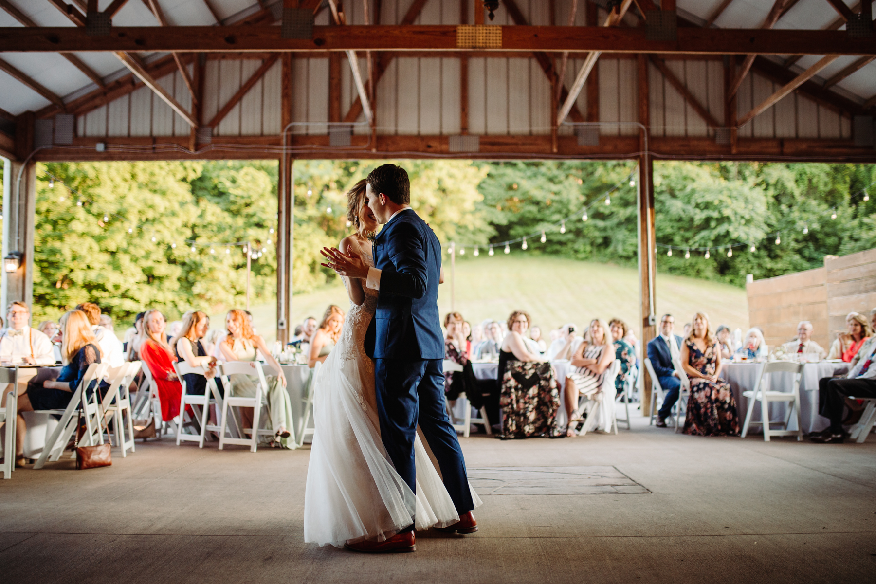 First dance at a stables at strawberry creek wedding in knoxville, tennessee