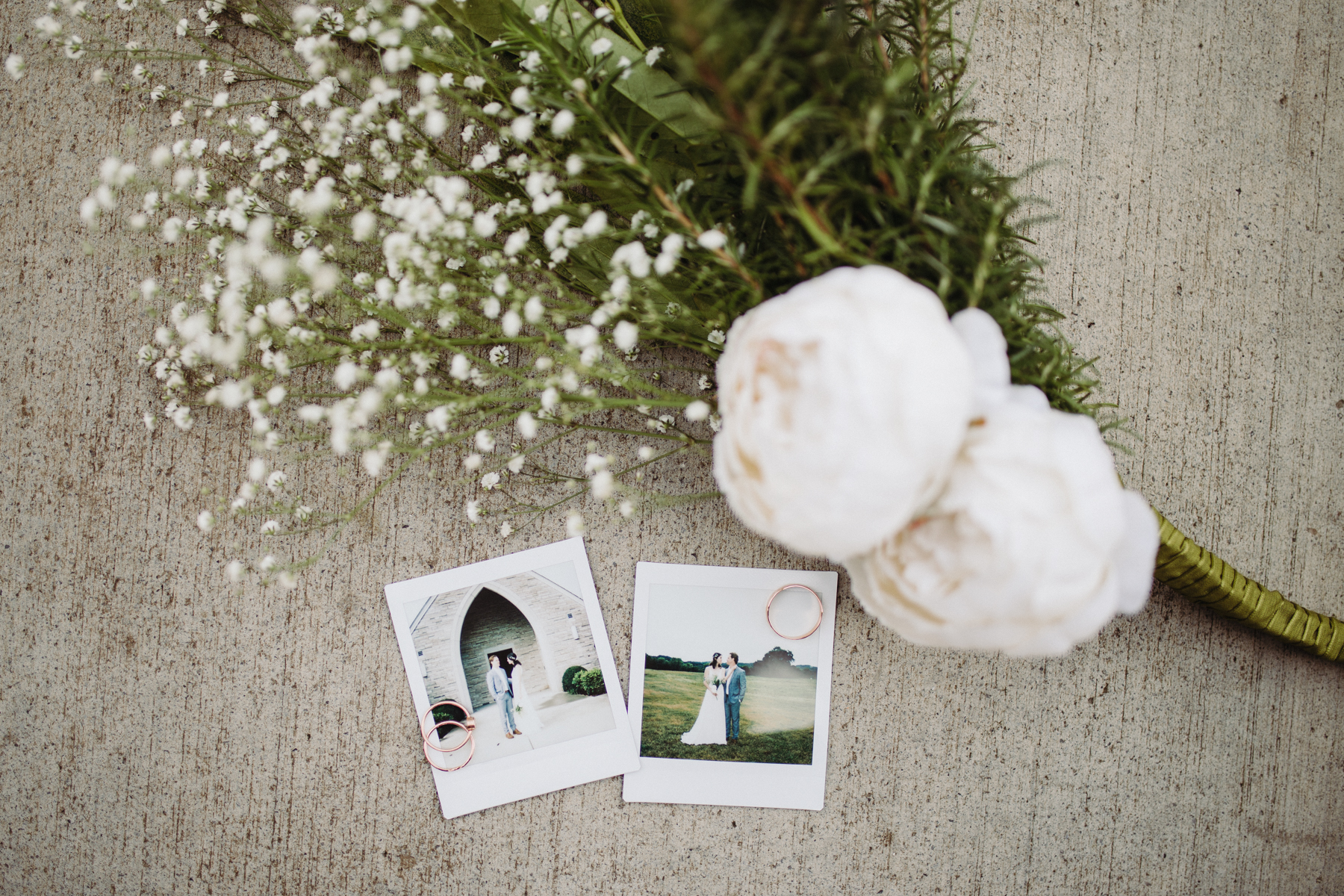 Polaroid photos of a bride and groom before their downtown knoxville wedding at redeemer church