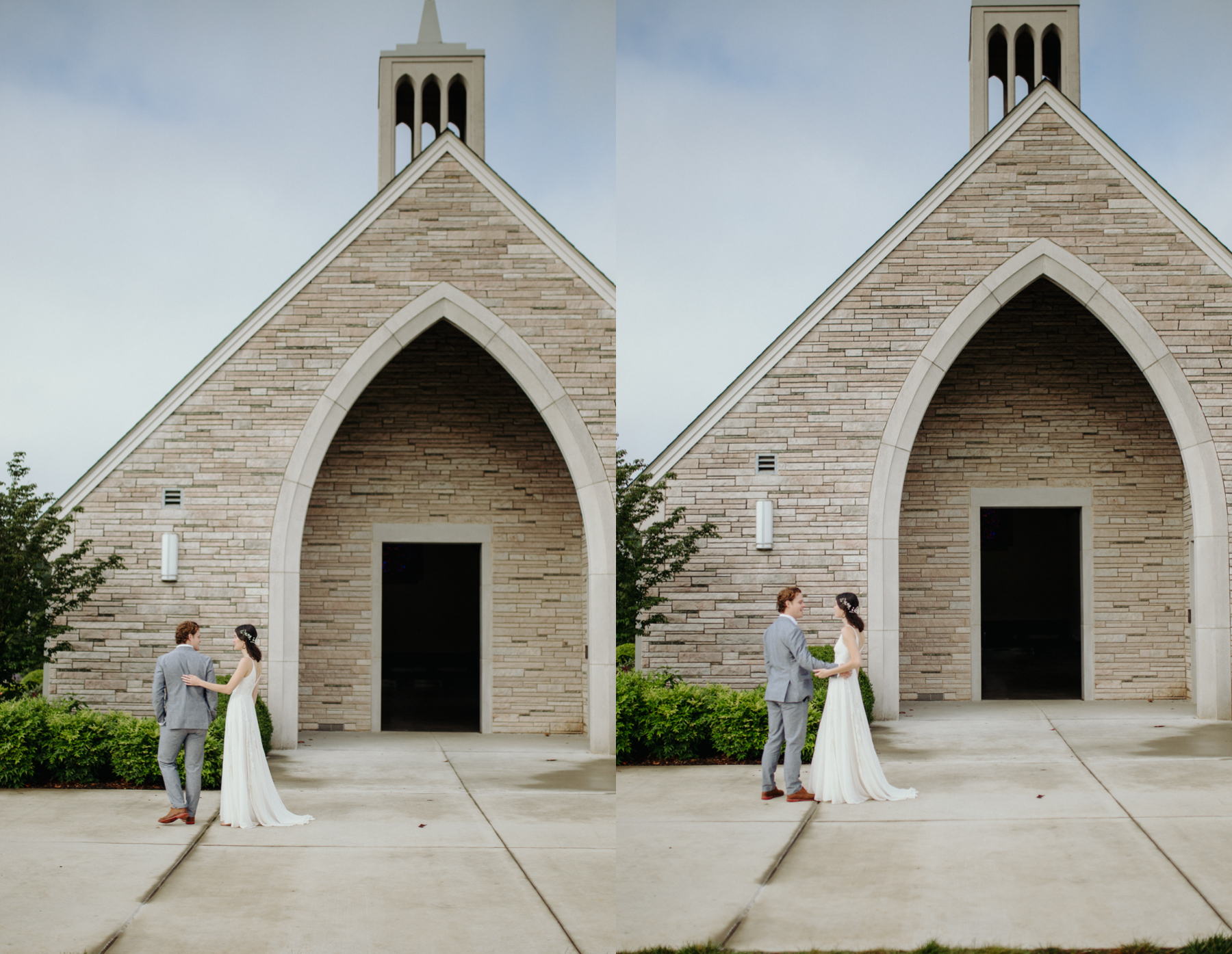Bride and groom's first look outside lakeshore chapel before a downtown knoxville wedding at redeemer church