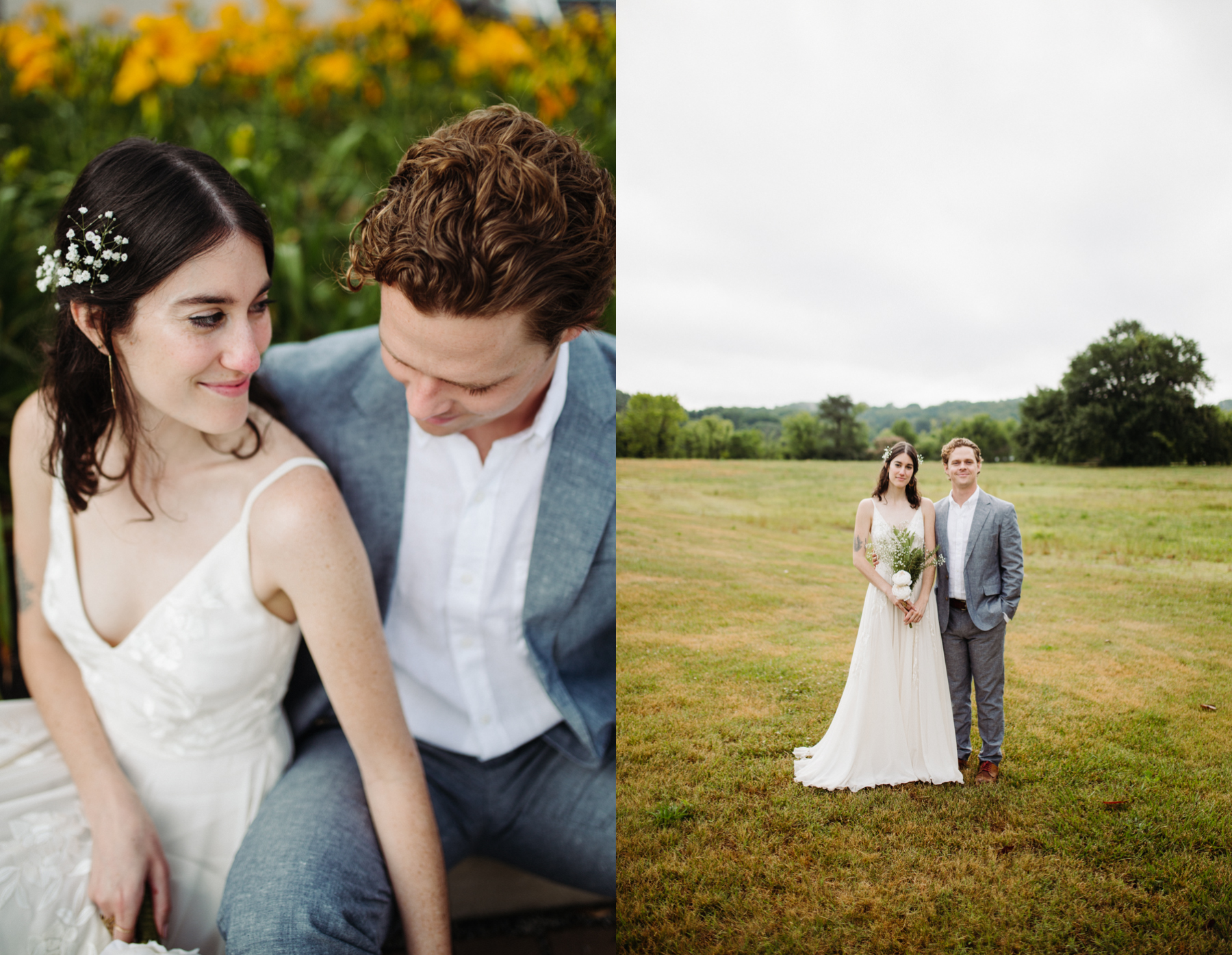 bride and groom portraits in a lily field before their downtown knoxville wedding at redeemer church