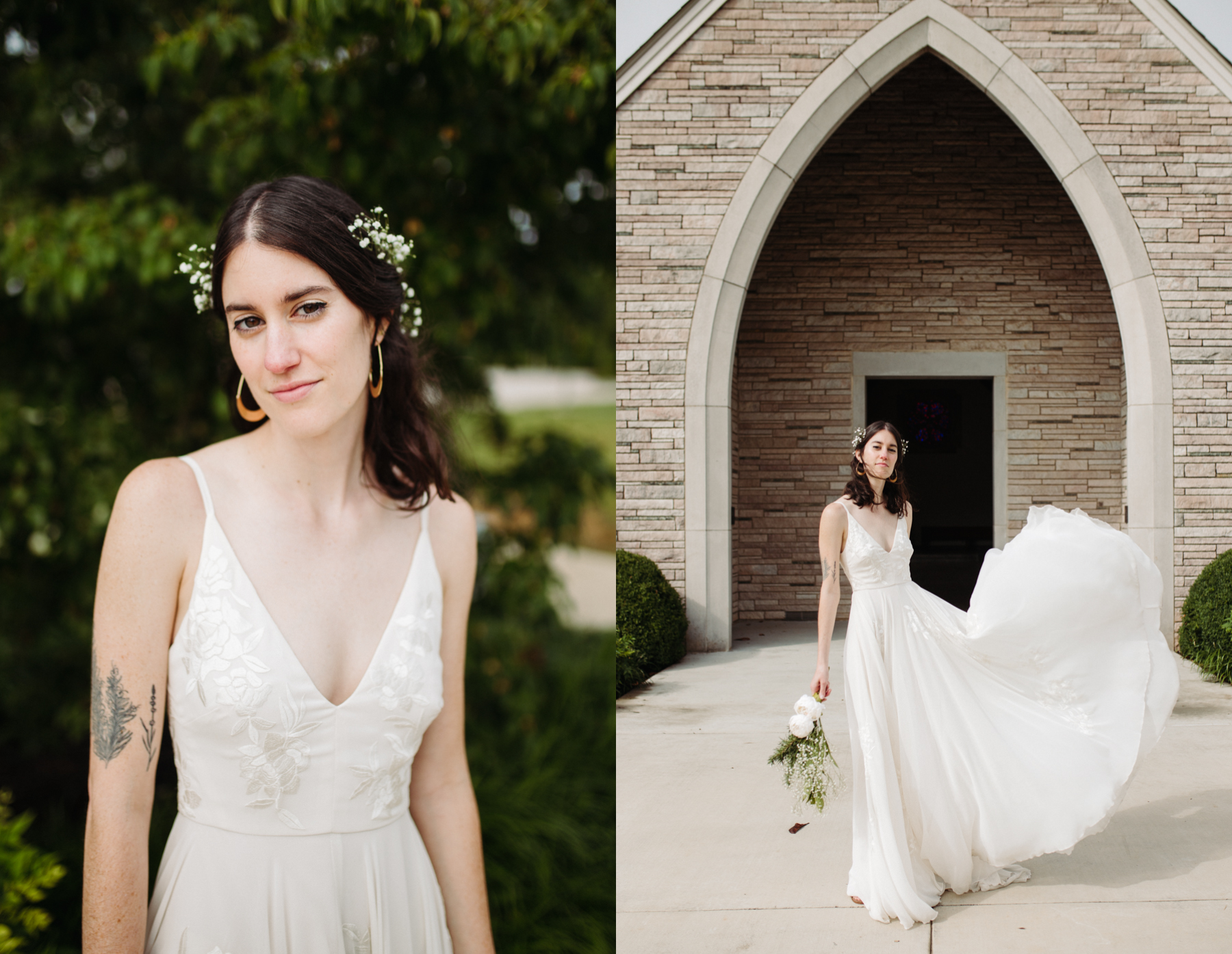 bridal portraits outside of lakeshore chapel before a downtown knoxville wedding at redeemer church