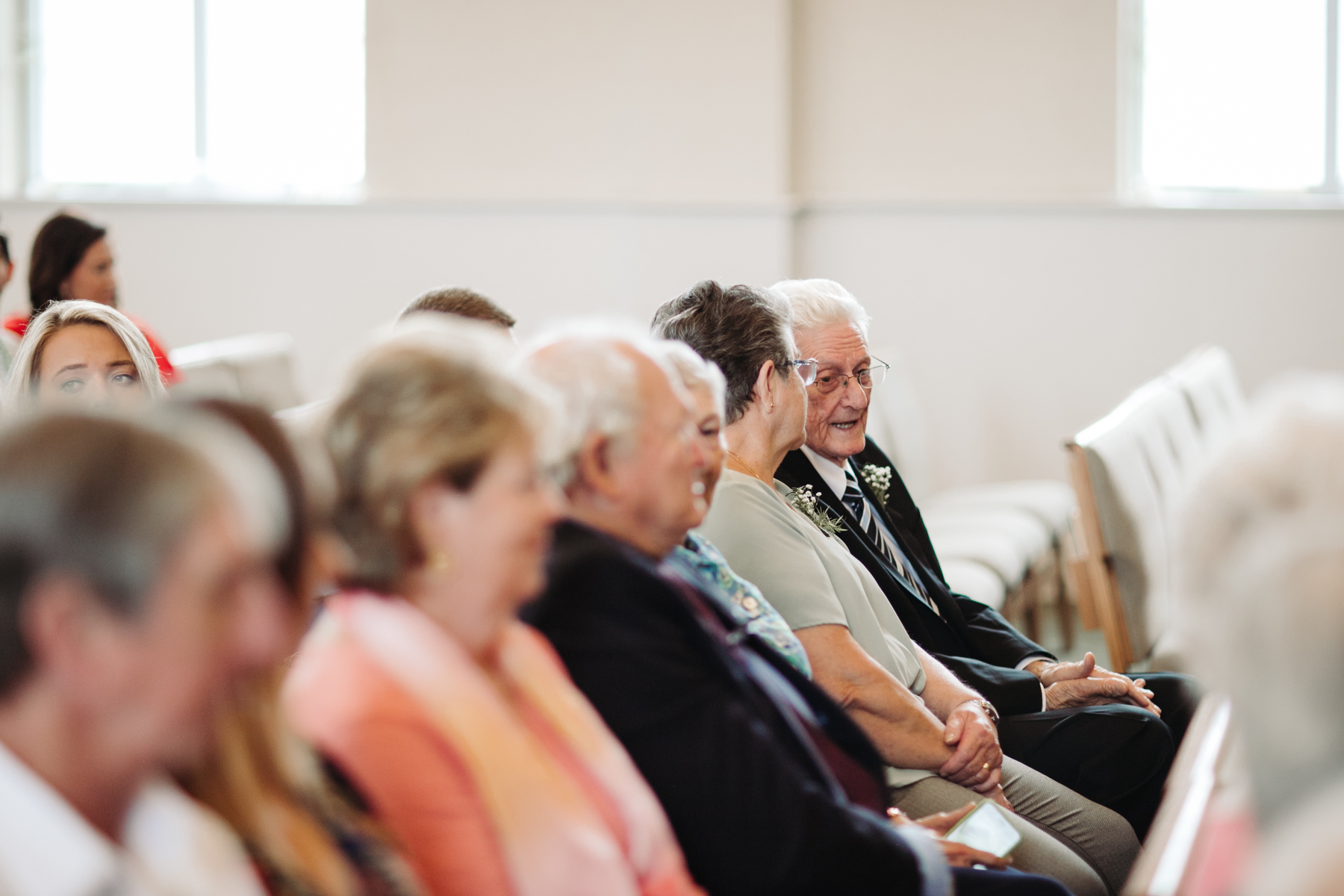 Wedding guests before the ceremony at a downtown knoxville wedding at redeemer church
