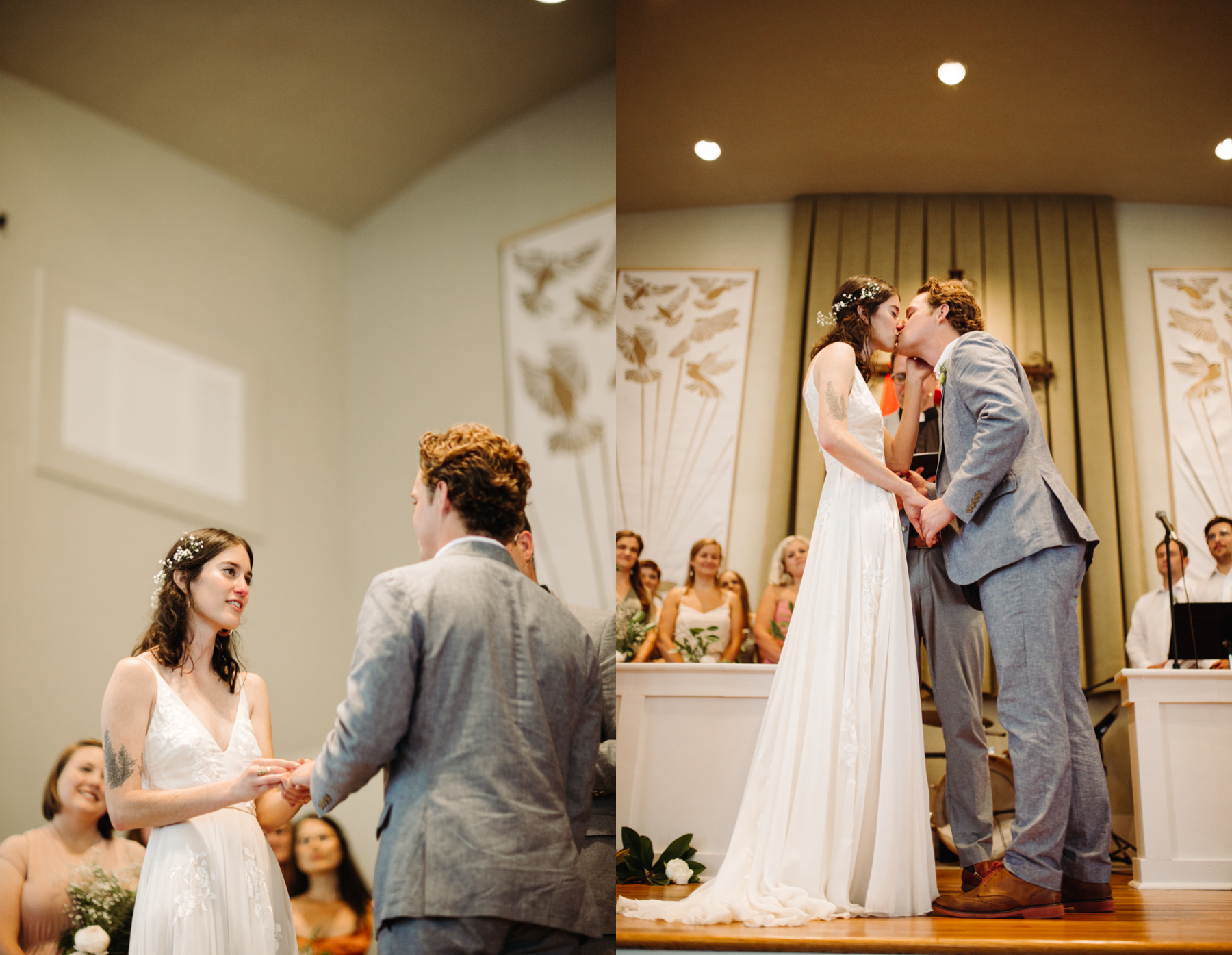 The first kiss inside redeemer church at a downtown knoxville wedding
