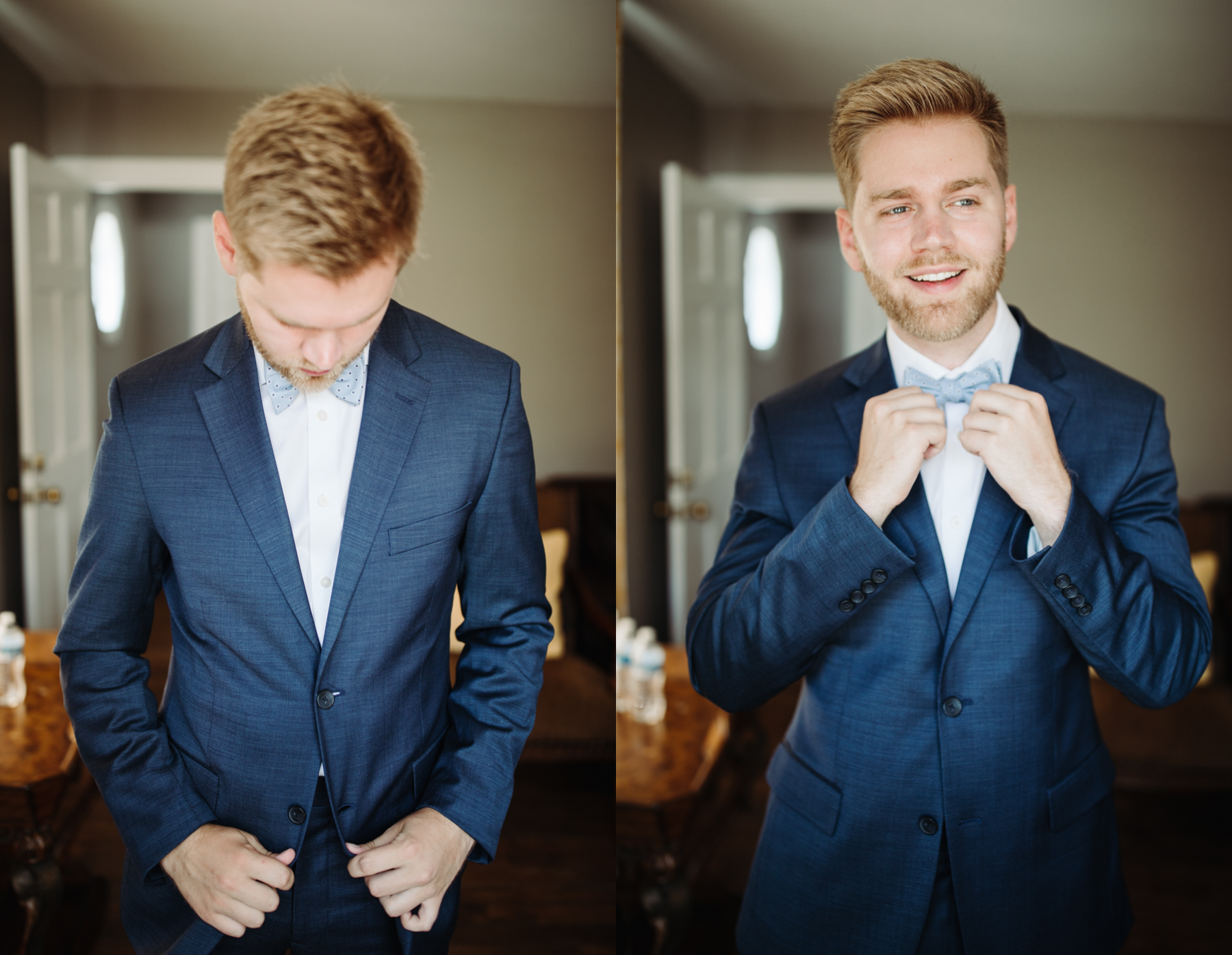 groomsmen portraits at a Sunny summer wedding at Dara's Garden in Knoxville, Tennessee