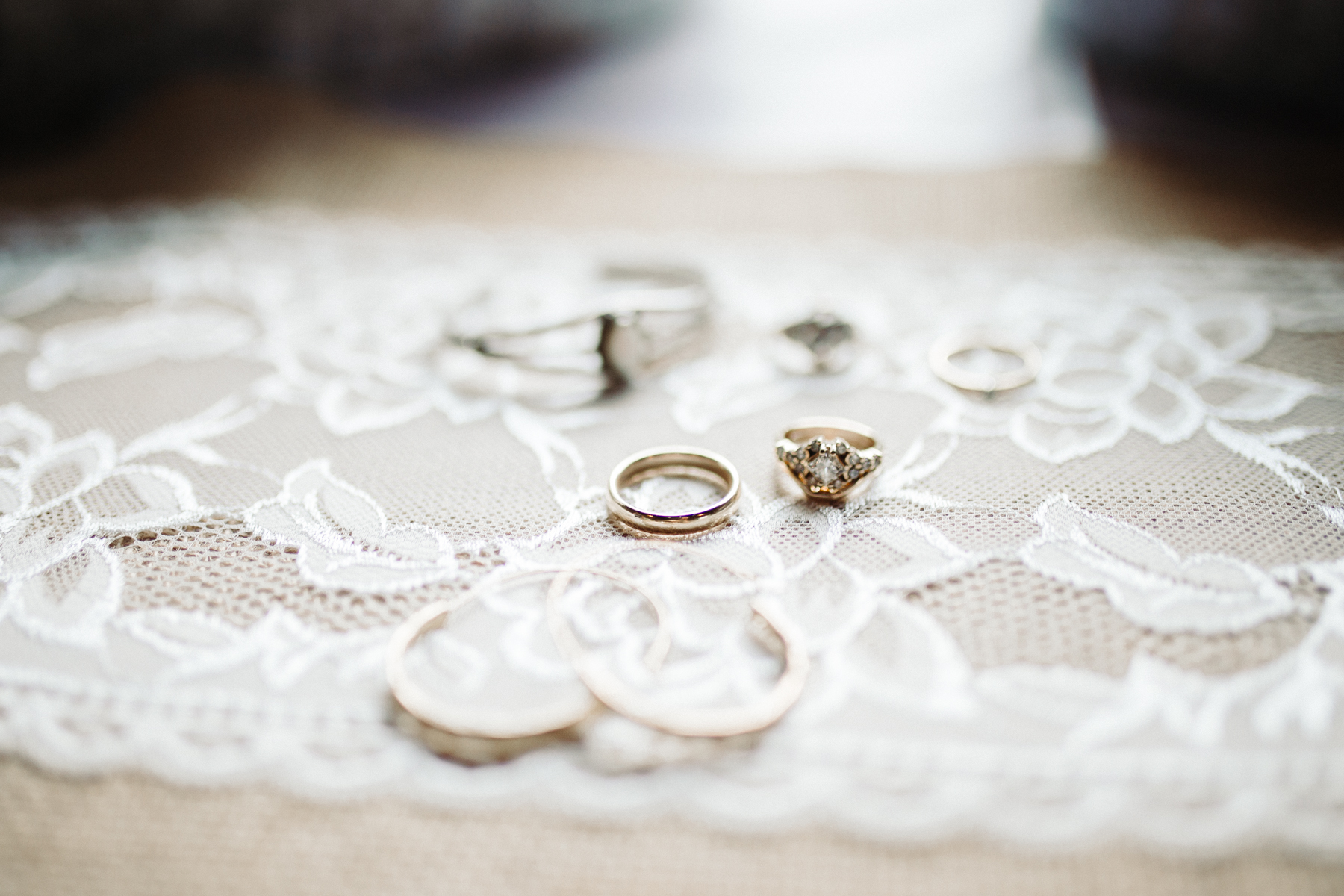 Bride's rings and jewelry details at a Sunny summer wedding at Dara's Garden in Knoxville, Tennessee