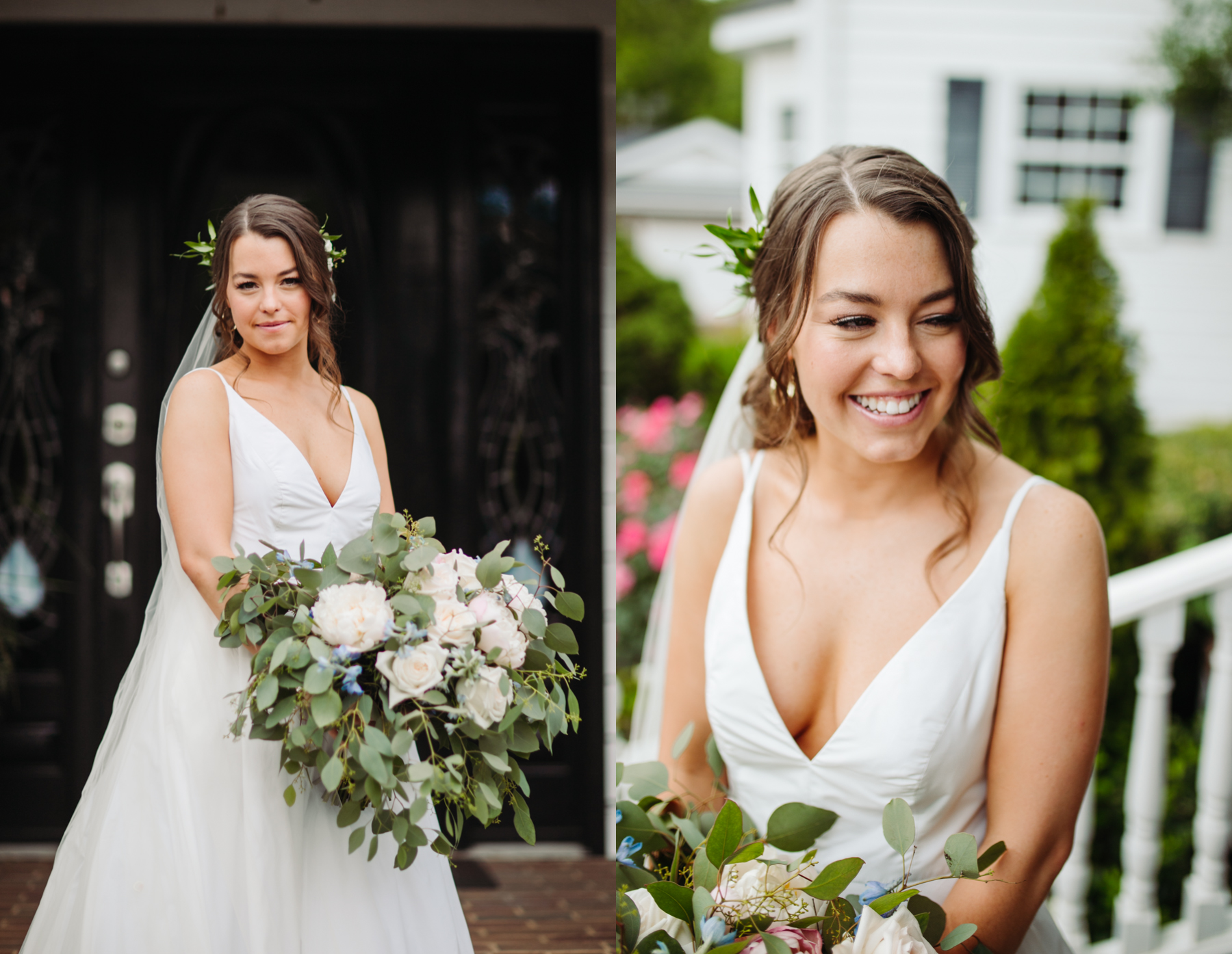 Bridal portraits before a Sunny summer wedding at Dara's Garden in Knoxville, Tennessee