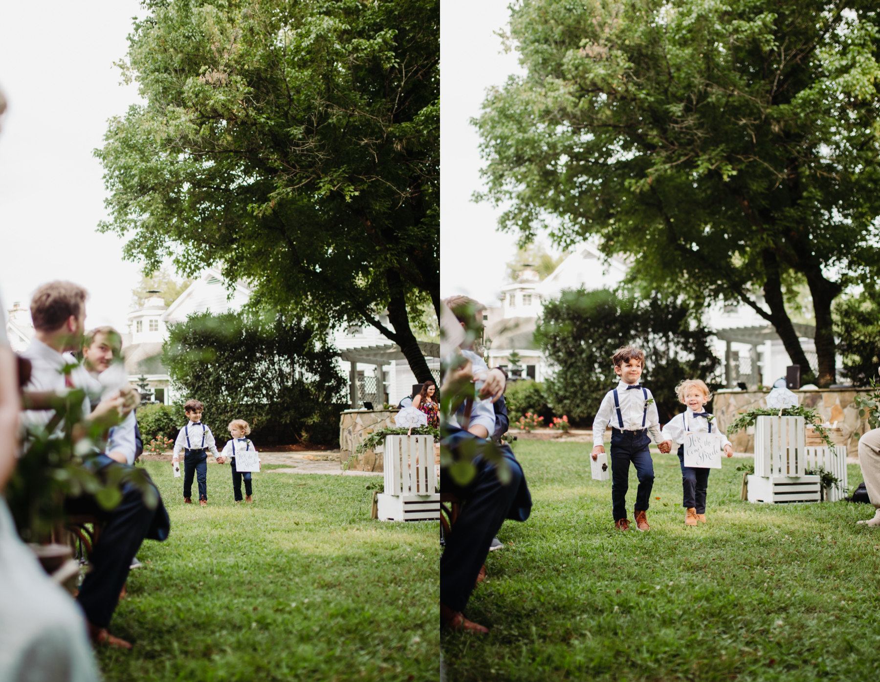 Little ring-bearers coming down the aisle at a Sunny summer wedding at Dara's Garden in Knoxville, Tennessee