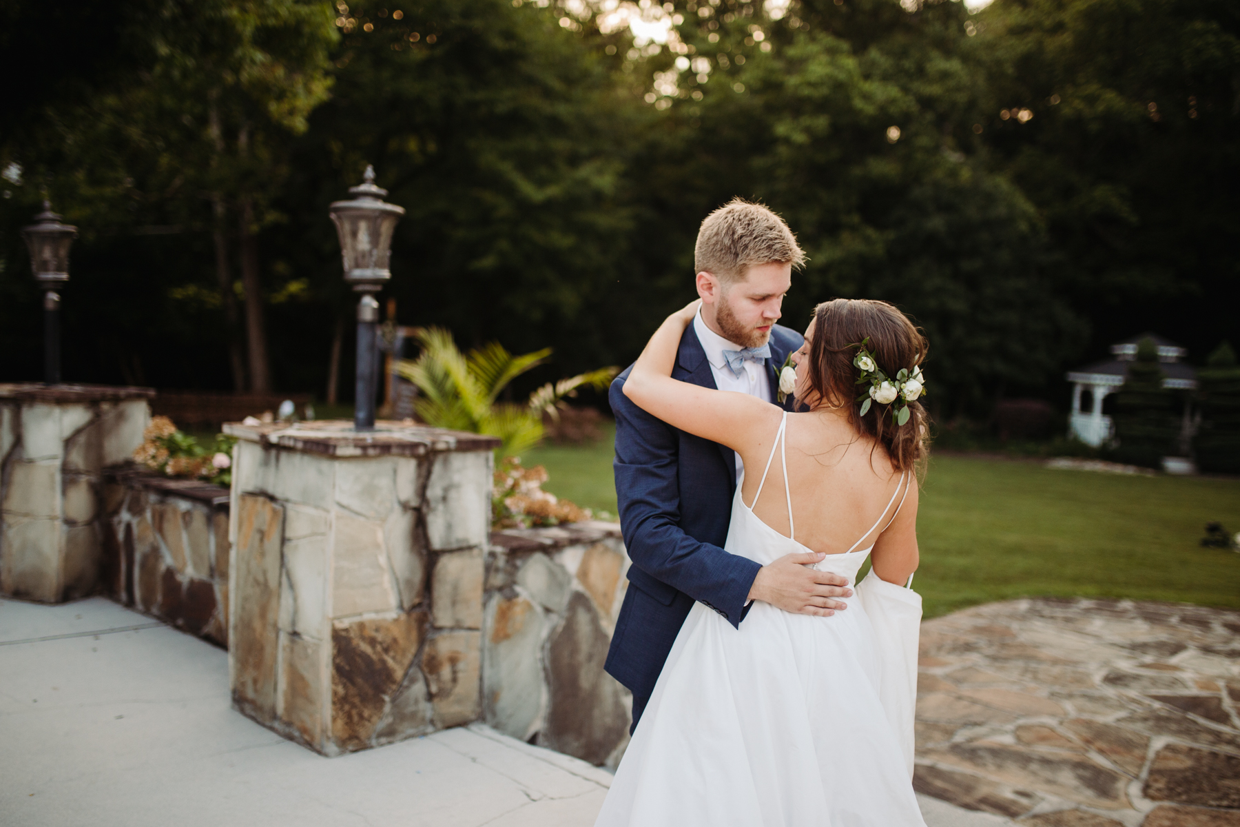 bride and groom portraits at a Sunny summer wedding at Dara's Garden in Knoxville, Tennessee
