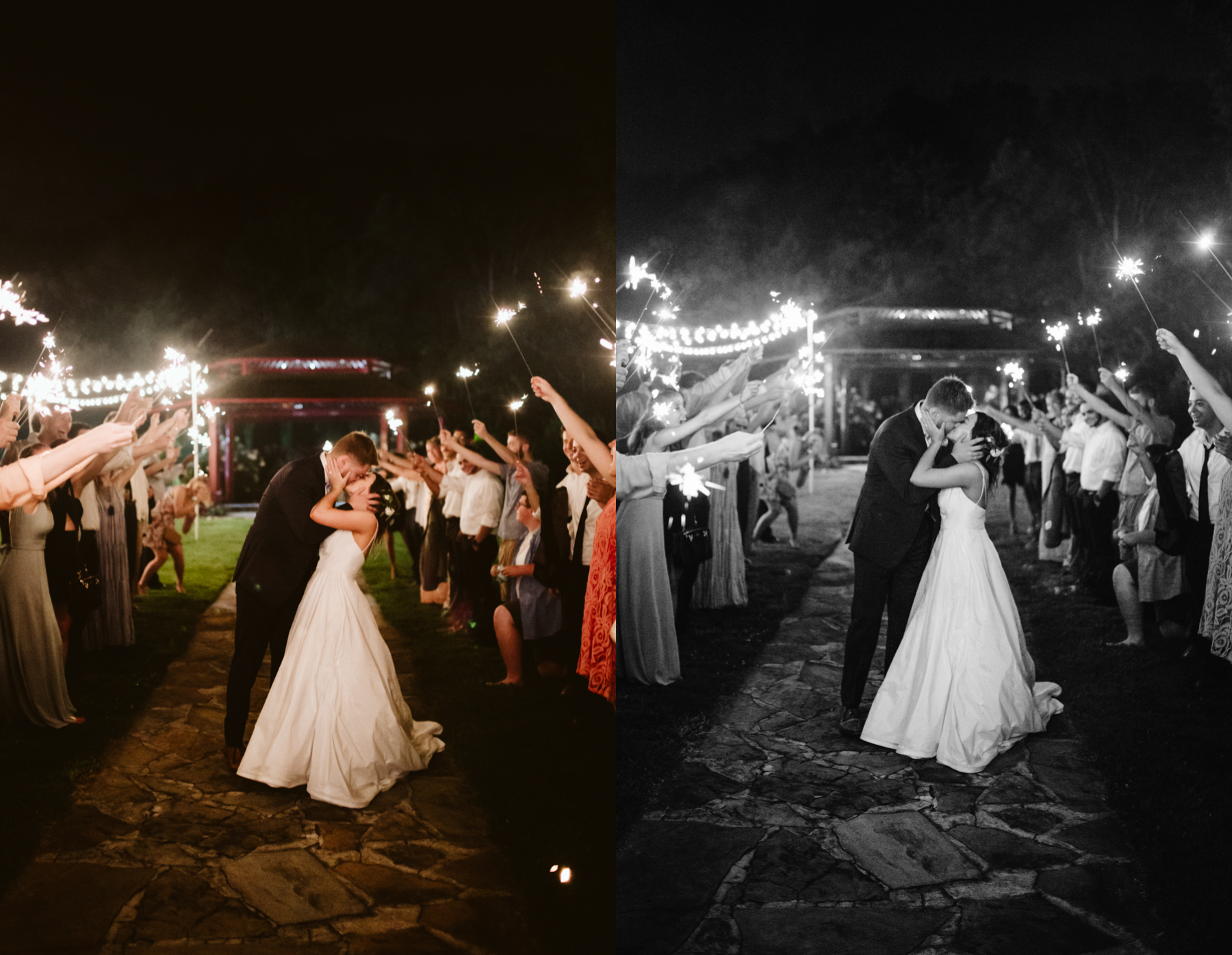 Sparkler exit from a reception of a Sunny summer wedding at Dara's Garden in Knoxville, Tennessee