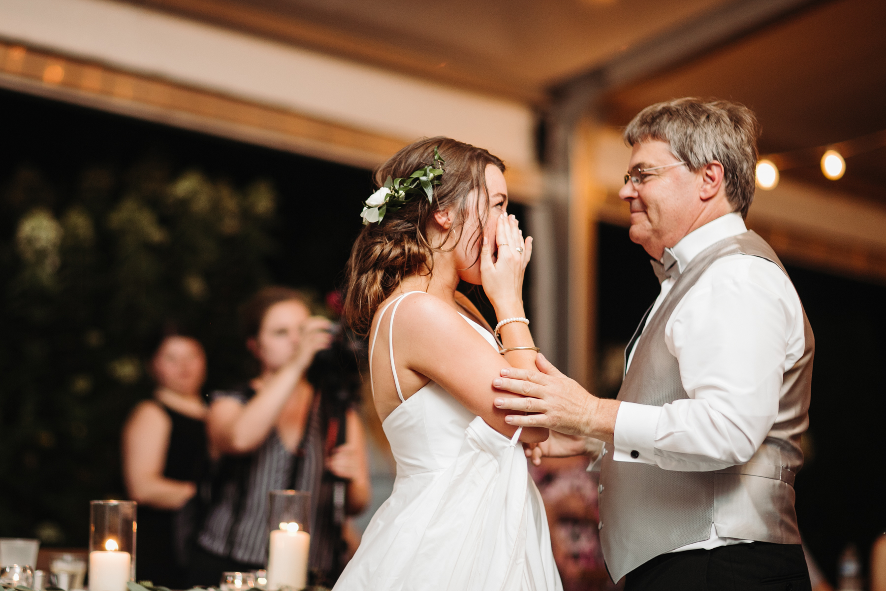 father daughter dance at a Sunny summer wedding at Dara's Garden in Knoxville, Tennessee