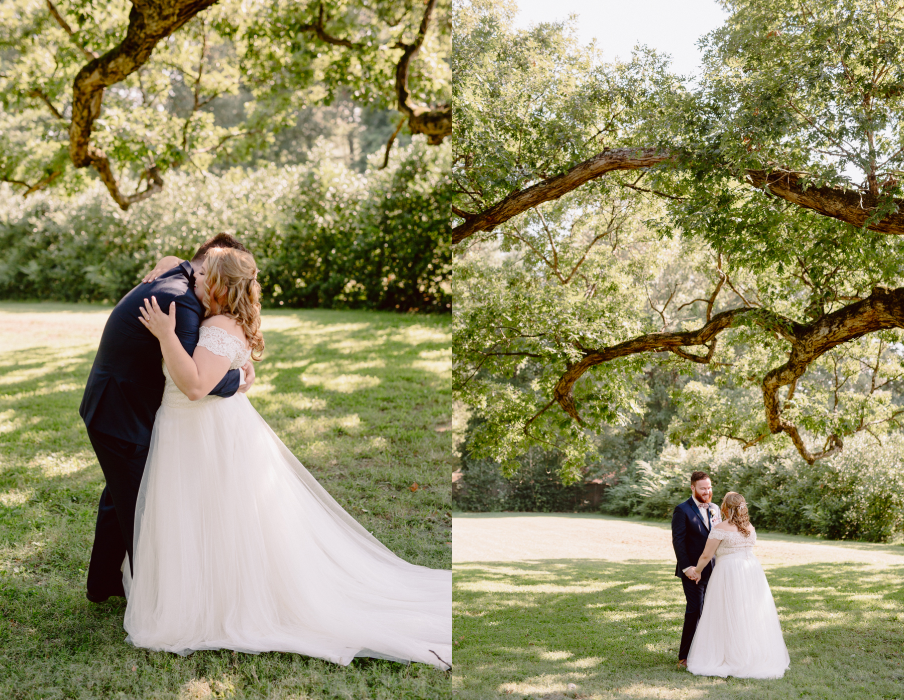 the first look at a sunny summer wedding at the venue at twin oaks tennessee.