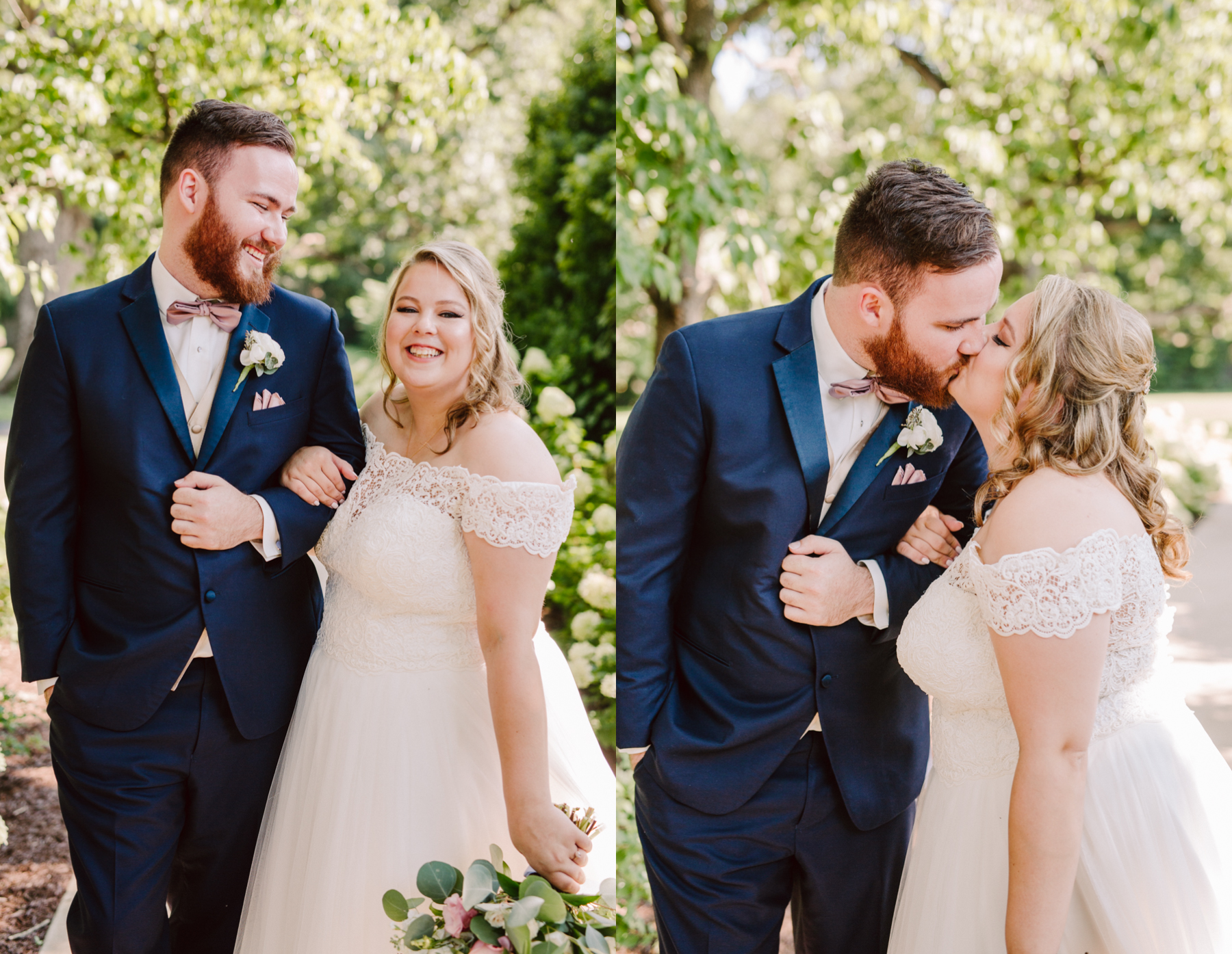 portraits at a sunny summer wedding at the venue at twin oaks tennessee