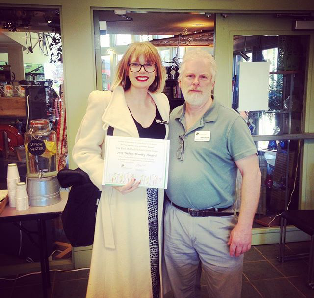 2015--Urban bounty award - The OTR People's Garden received the urban bounty award from The Civic Garden Center of Greater Cincinnati for its focus on the health of the individual, the community and the environment.