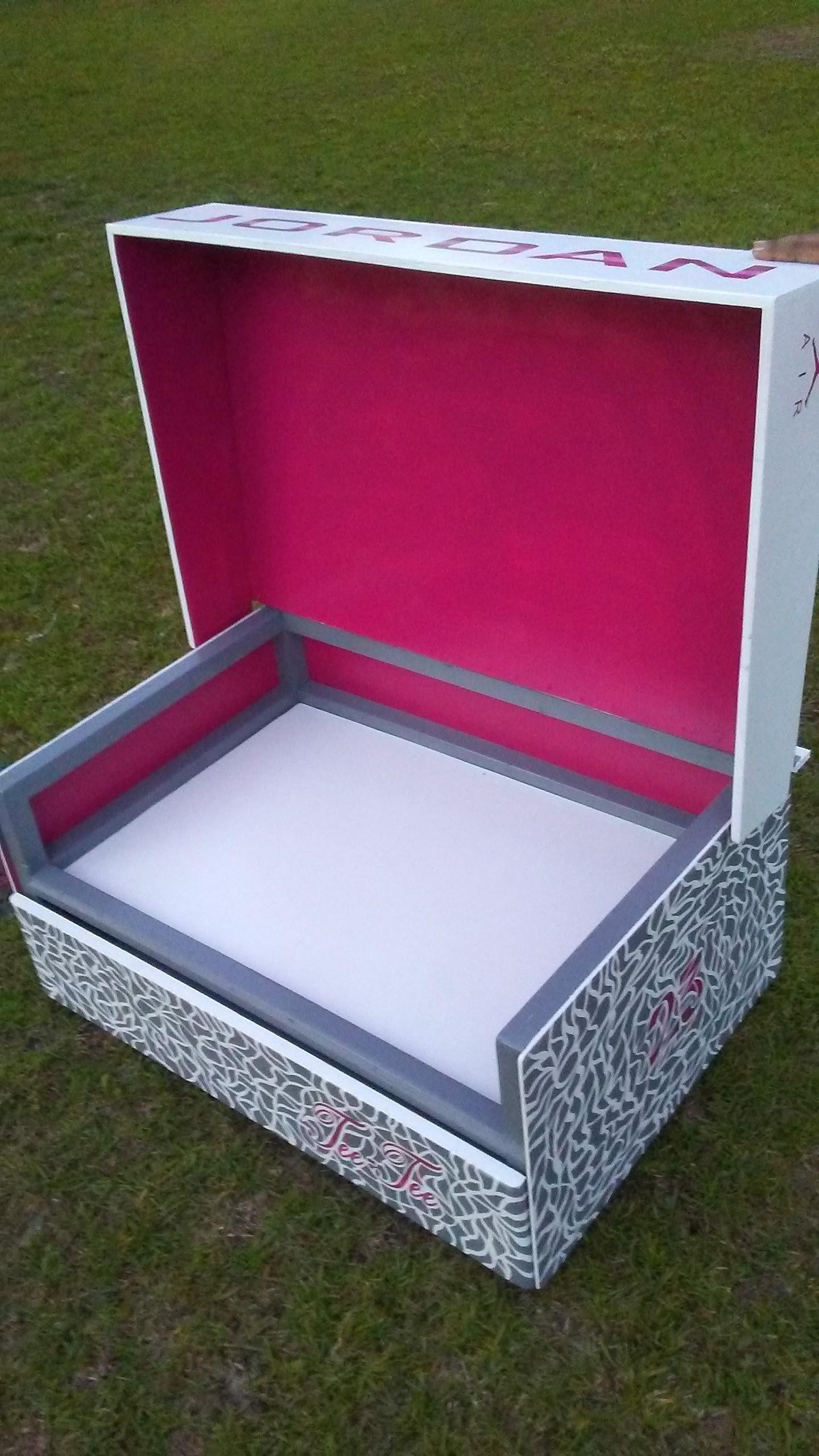 Pink and Gray Jordan Shoe Box — King Sr. Woodworking