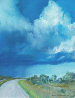 Distant Showers - framed soft pastel featured in JOURNEY exhibition
