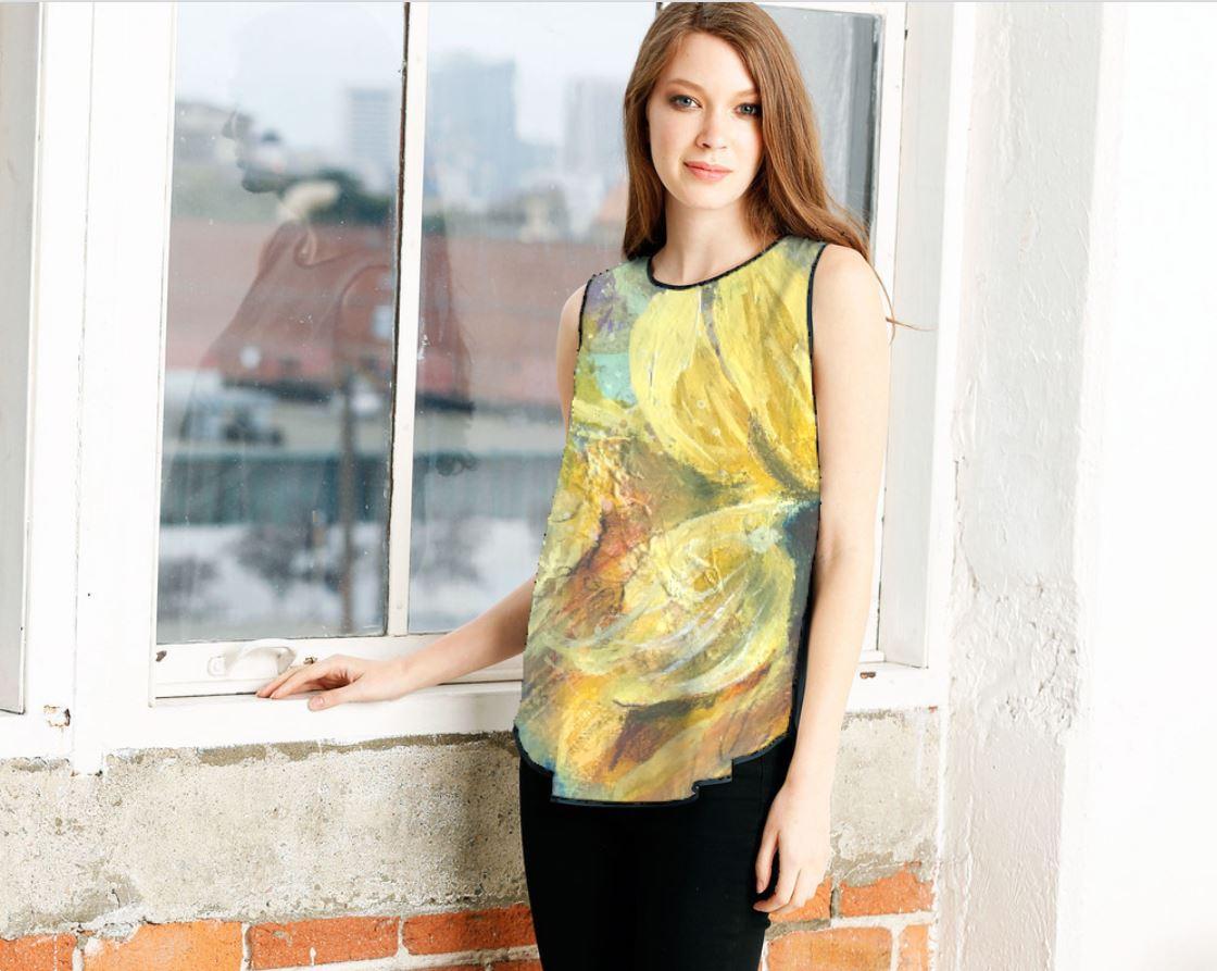 sunflower sleeveles 2model.JPG