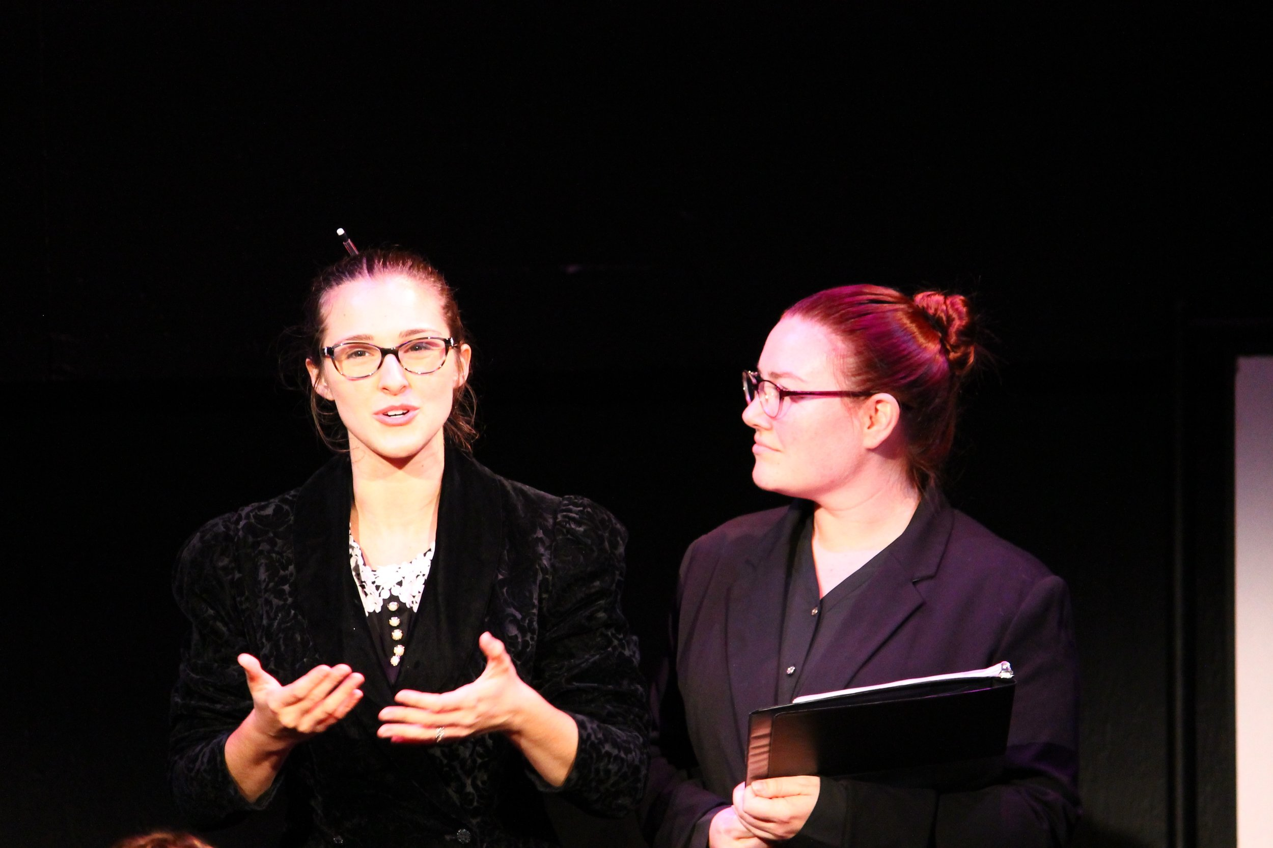 Stephanie Bacastow (left) and Stephanie VanAlstine (right) in LOVING REPEATING.