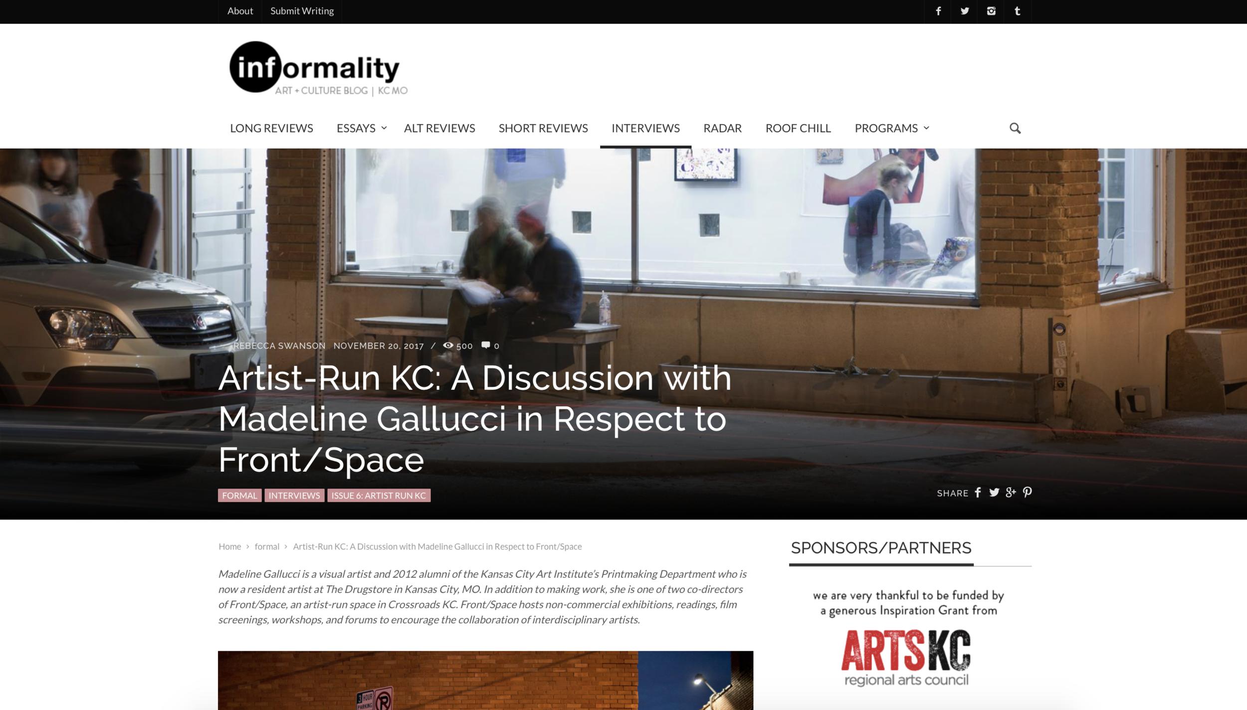 Screenshot from December 2017 informalityblog.com
