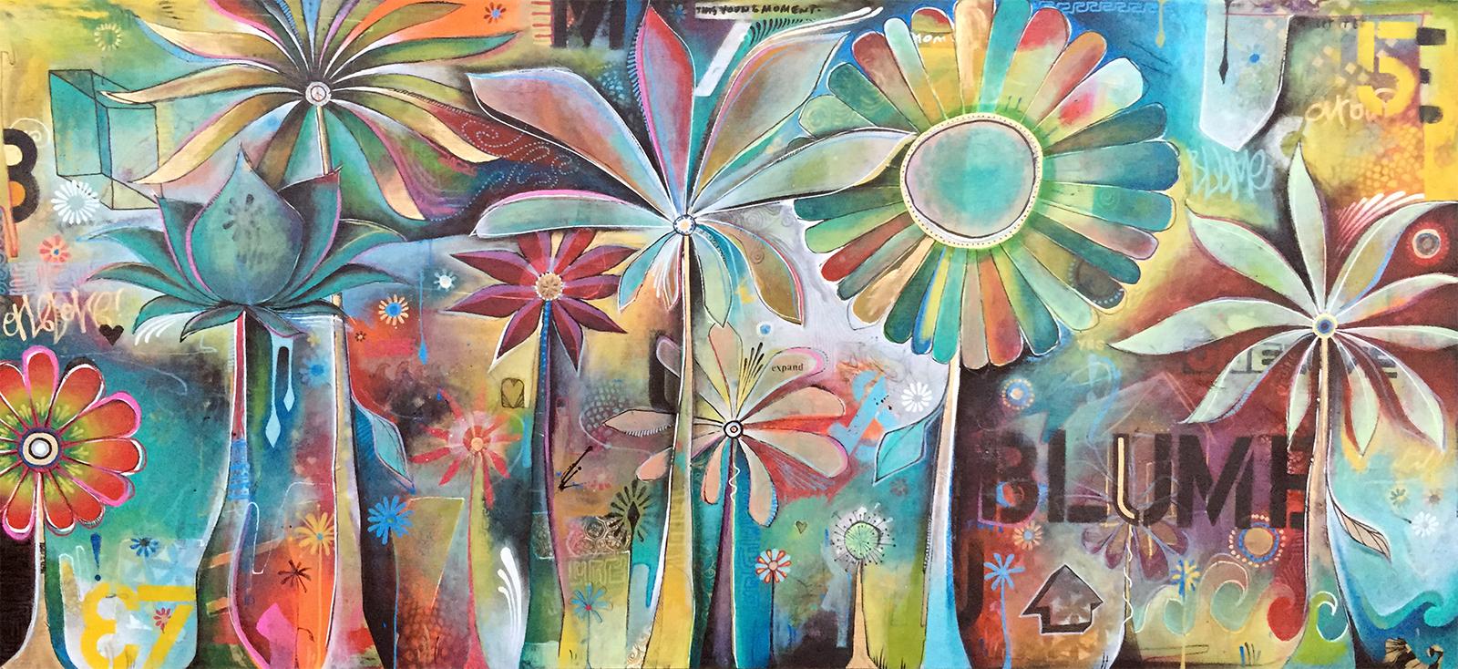 'Blume' Mixed media on wood. 20h x 48w. 2015