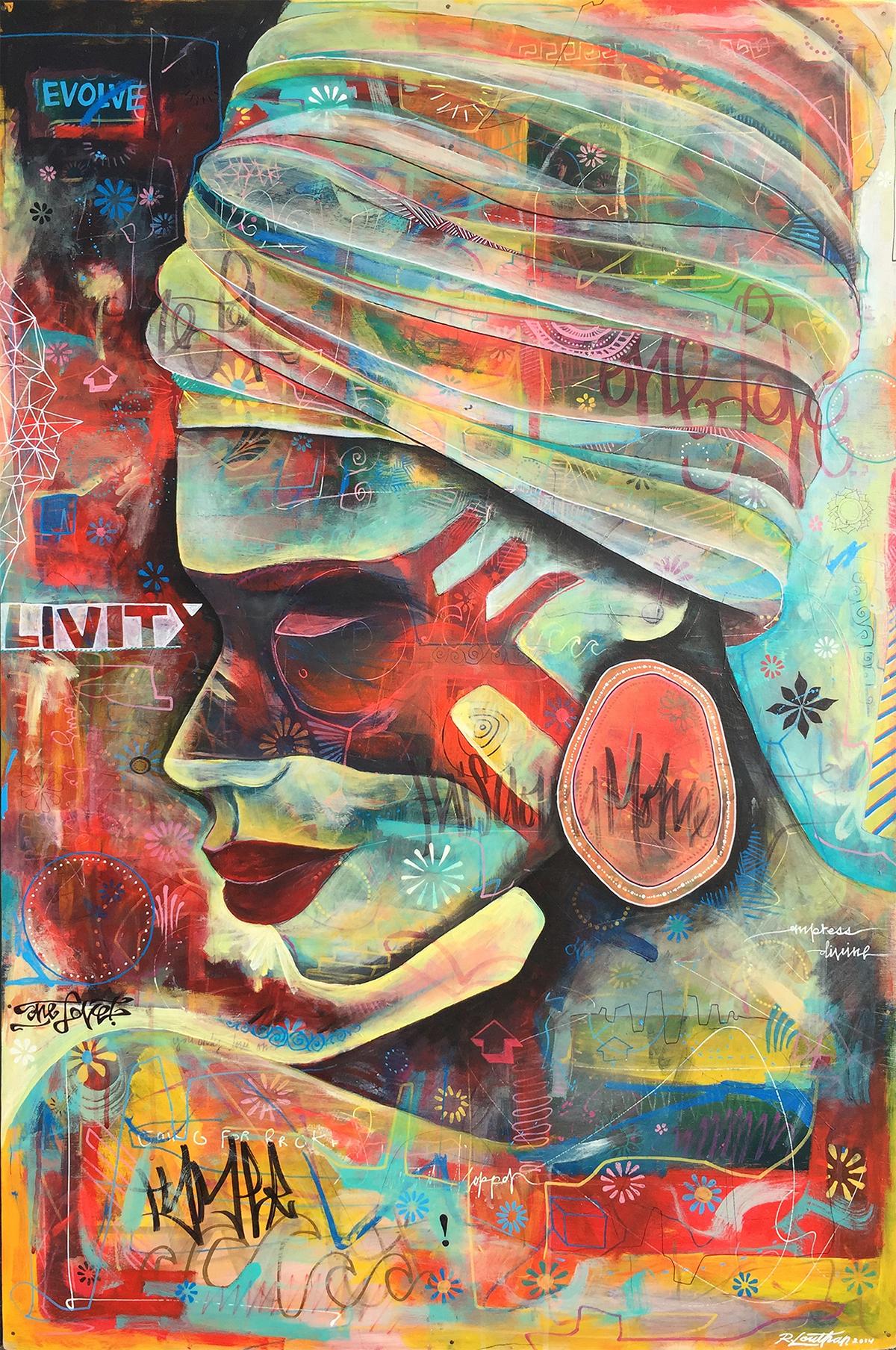 'Empress Divine' Acrylic on wood. 40h x 32w. 2014