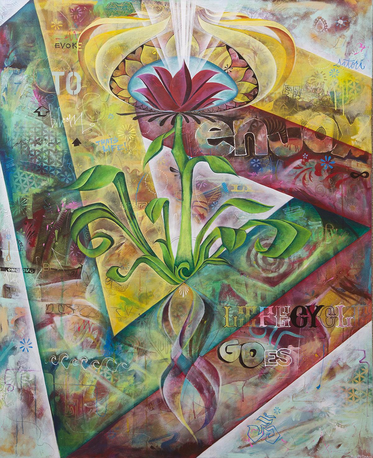 'Tulipac' Acrylic/Aerosol on canvas. 60h x 48w. 2015