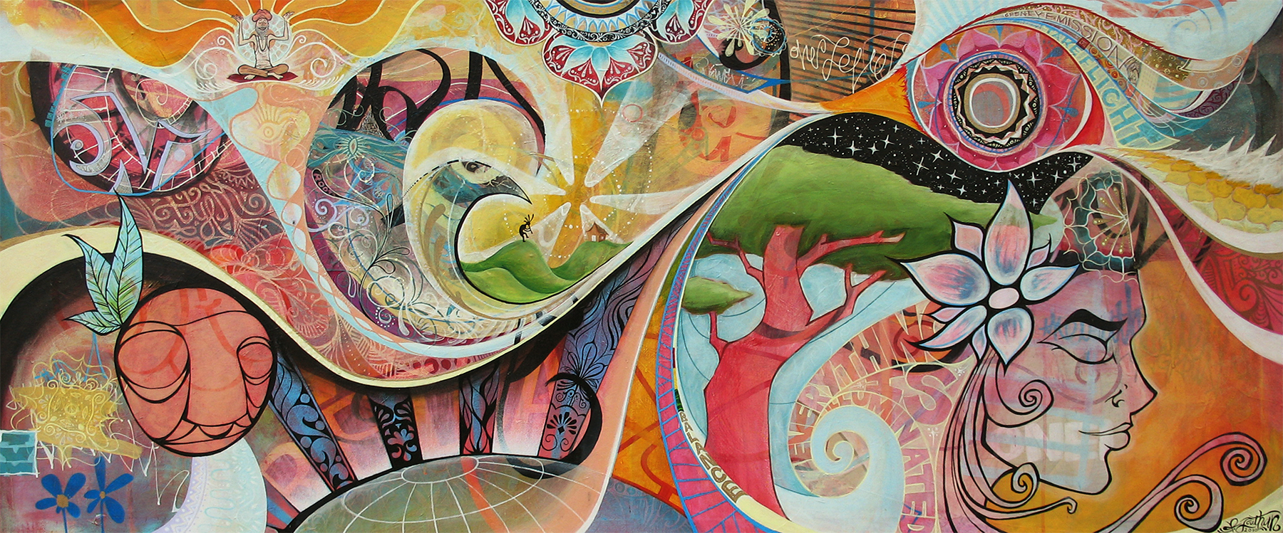 'Bliss' Acrylic/Aerosol on canvas. 30h x 72w. 2010