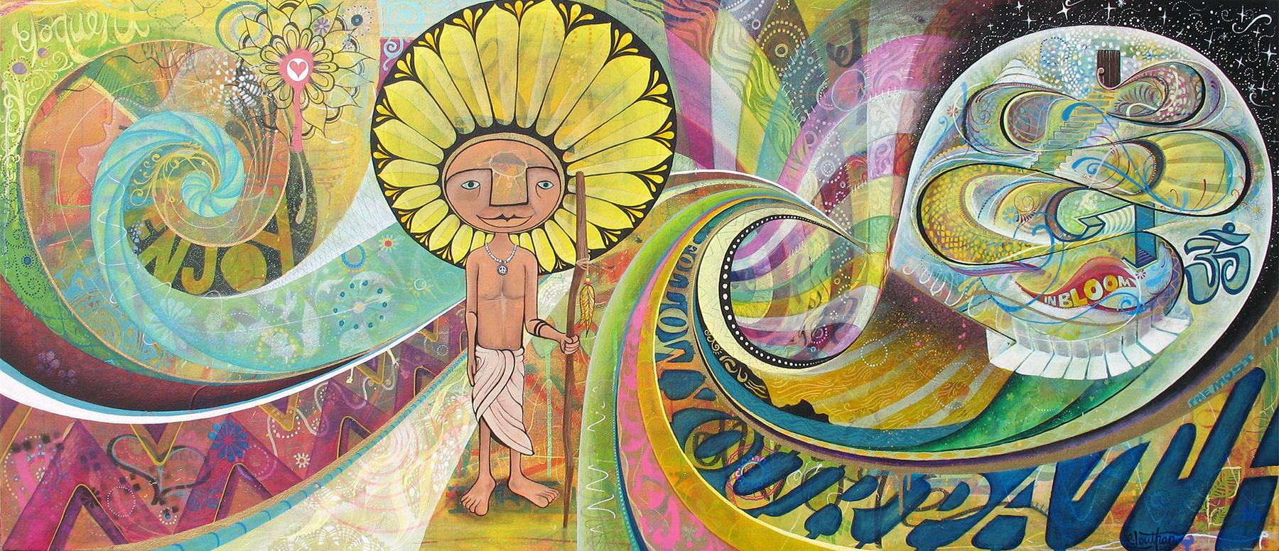 'Journey' Acrylic/Aerosol on canvas. 28h x 62w. 2011
