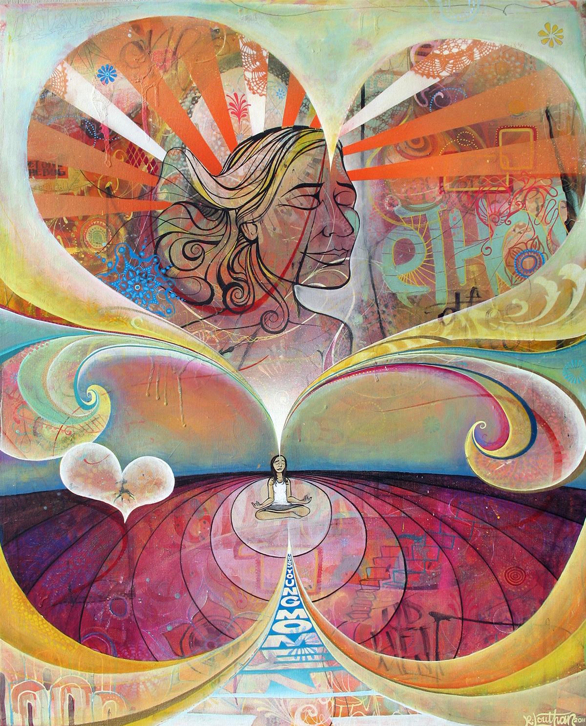 'Radiate Your Essence' Acrylic/Aerosol on canvas. 42h x 34w. 2012