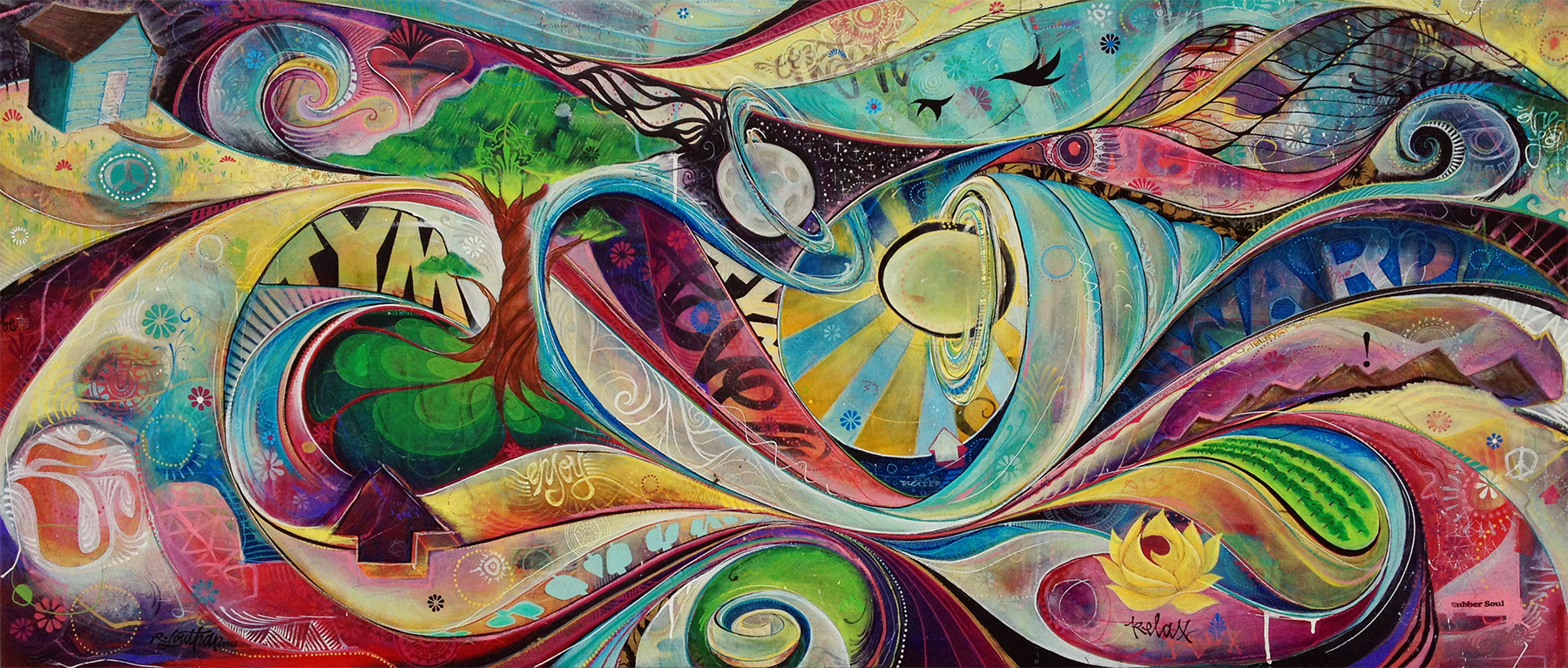 'Rubbersoul' Acrylic/Aerosol on canvas. 30h x 72w. 2012