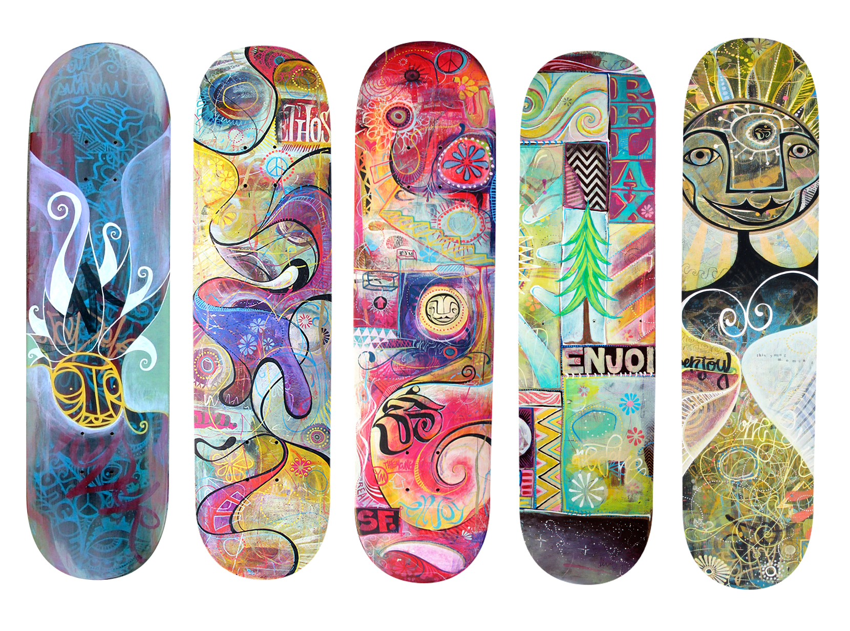Skateboards painted over the years